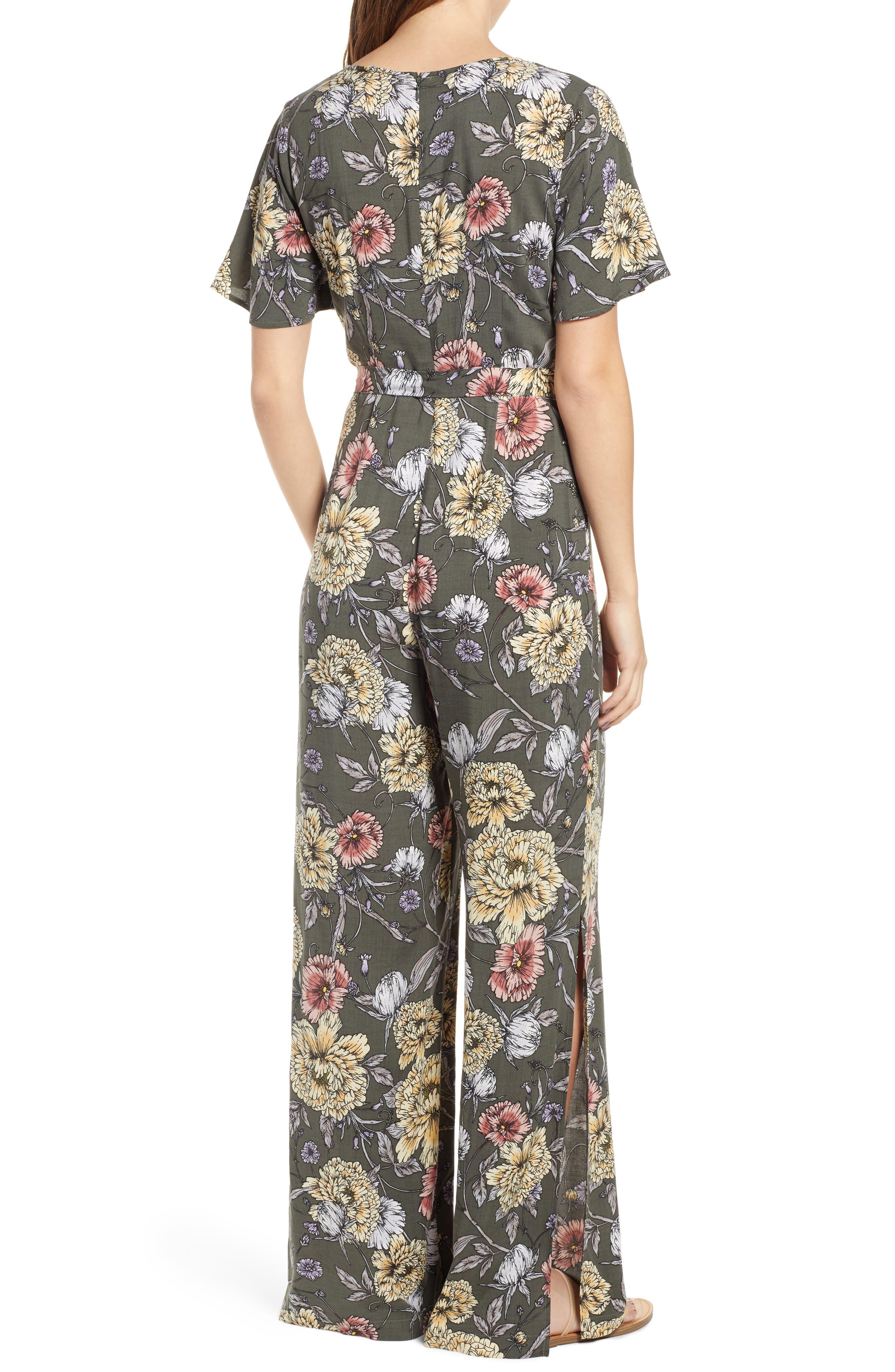 Floral Print Tie Waist Jumpsuit,                             Alternate thumbnail 2, color,                             OLIVE FLORAL