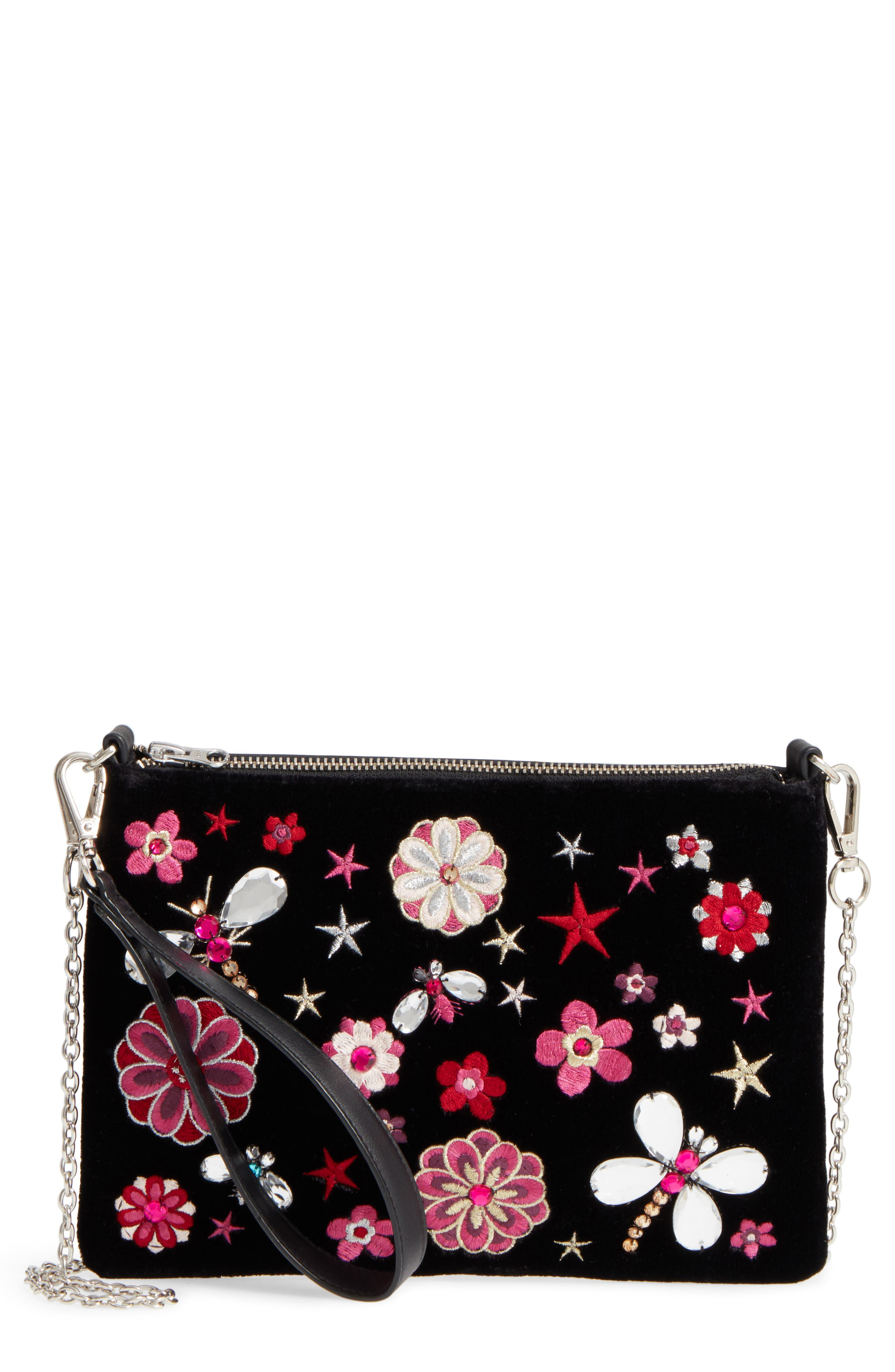 Embellished Faux Leather Clutch,                             Main thumbnail 1, color,                             960