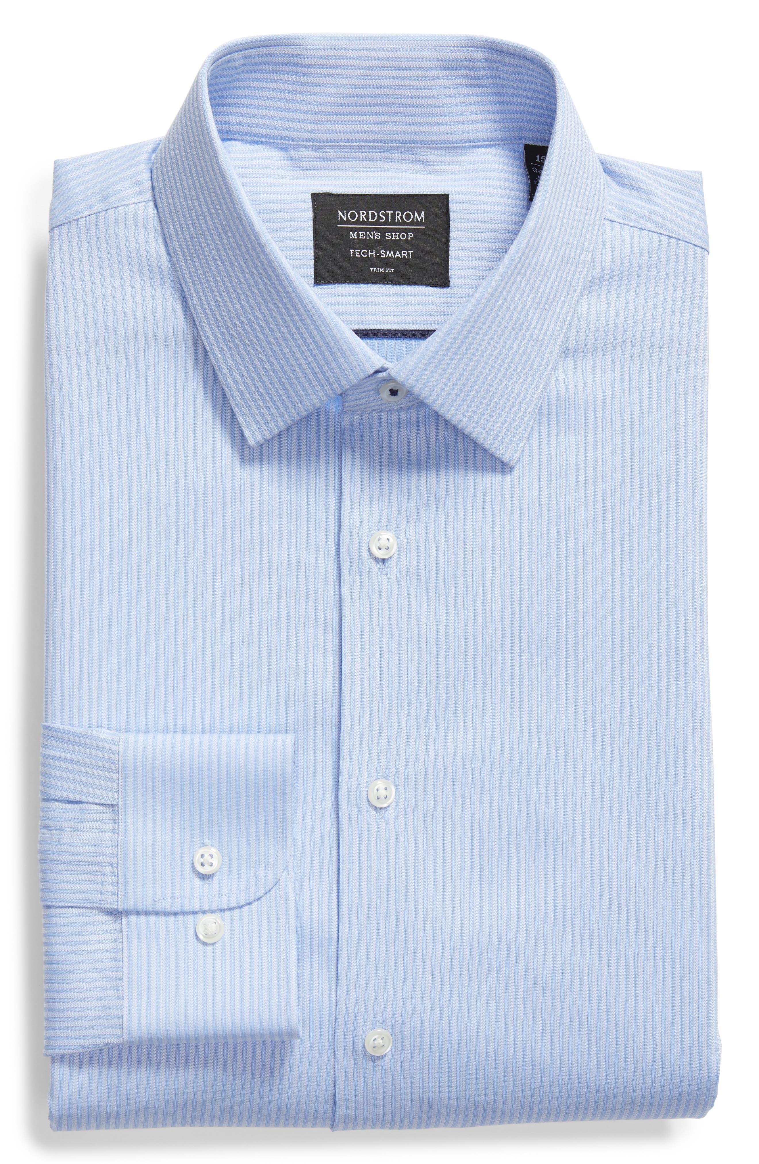 Tech-Smart Trim Fit Stretch Stripe Dress Shirt,                             Alternate thumbnail 5, color,                             450