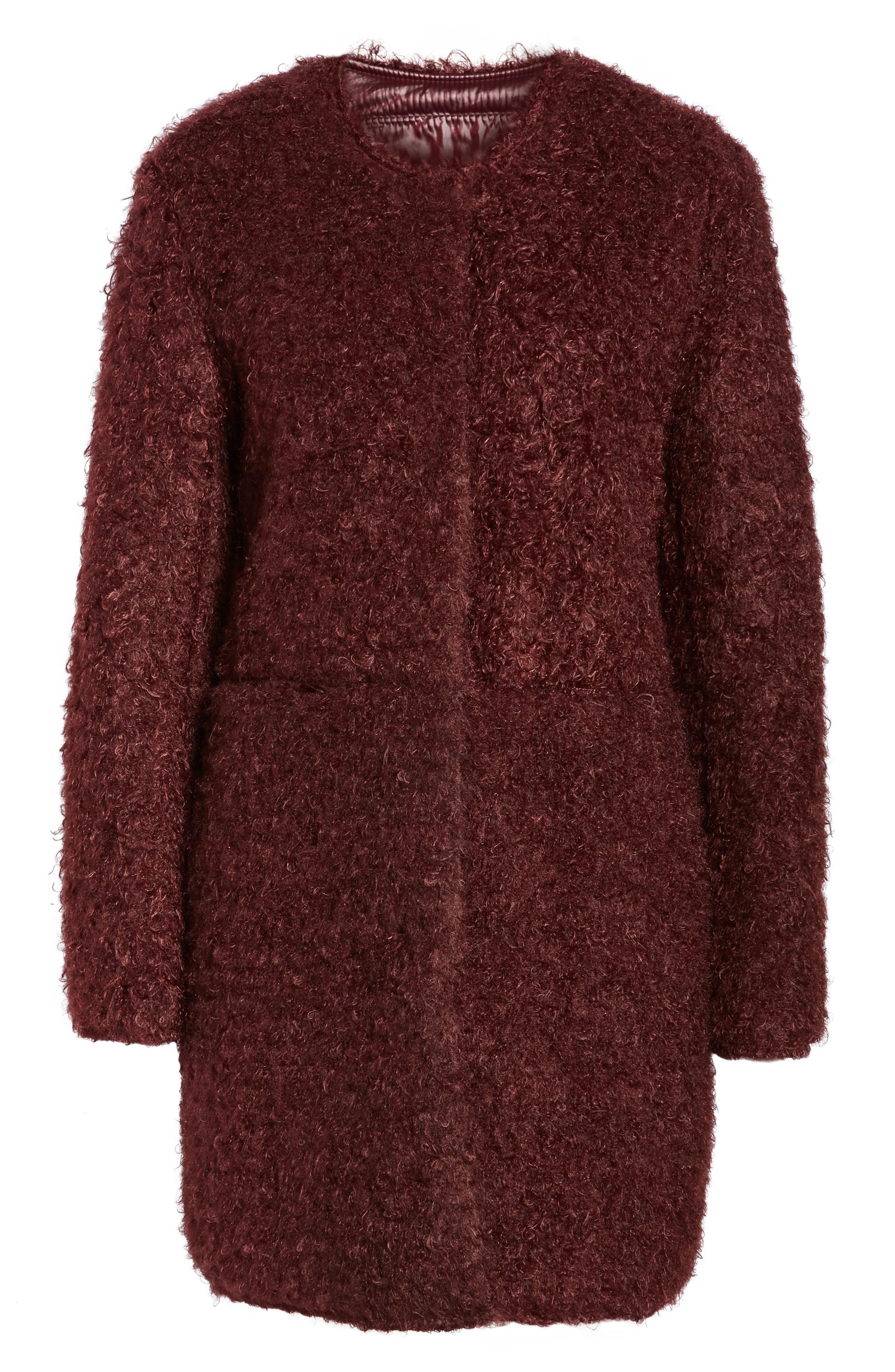 Reversible Faux Fur Coat,                             Alternate thumbnail 5, color,                             602