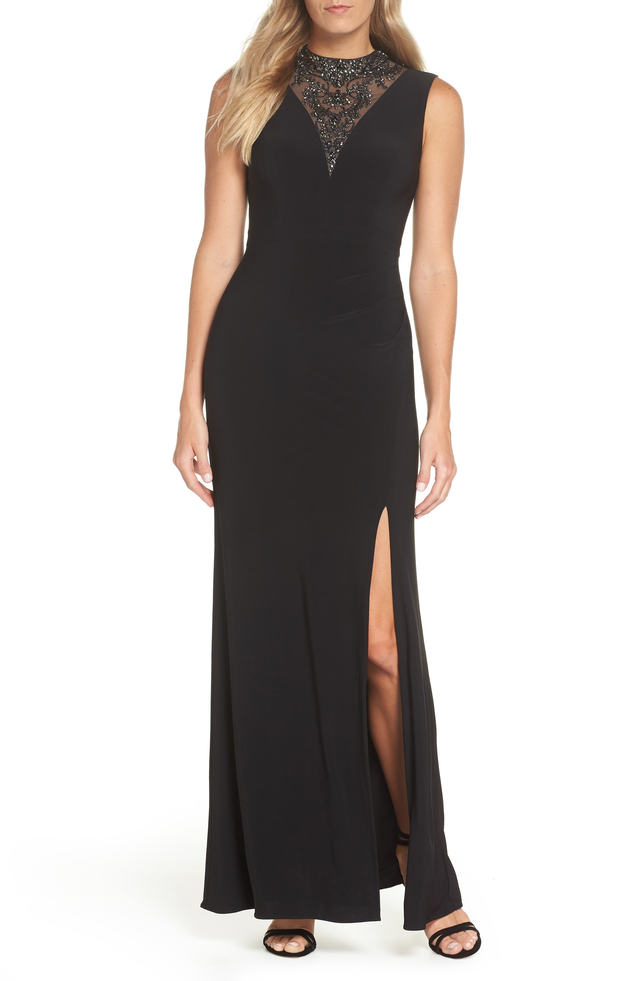 Beaded Illusion Neck Gown,                             Main thumbnail 1, color,                             BLACK