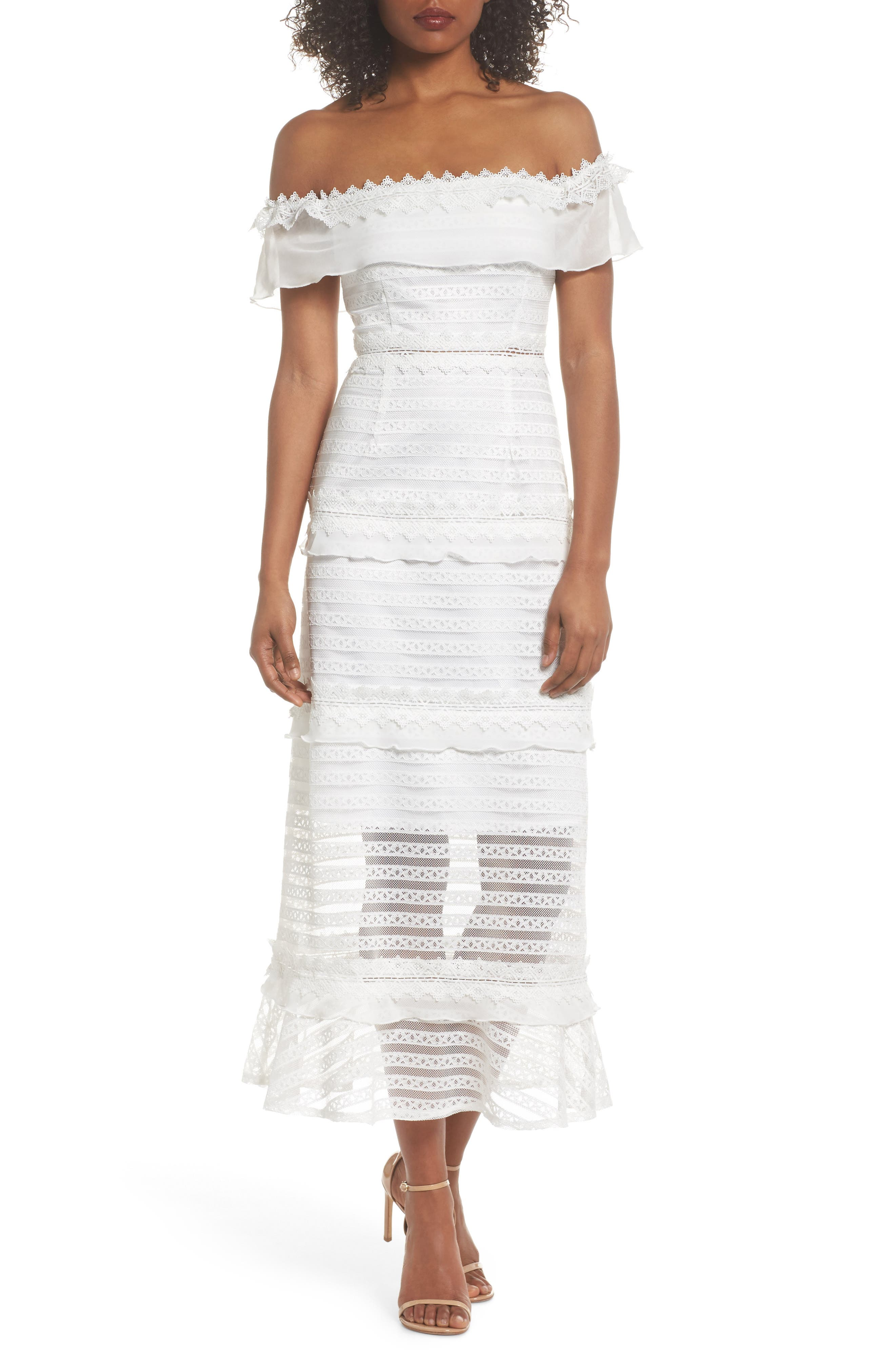 Lucy Off the Shoulder Stripe Lace Dress,                             Main thumbnail 1, color,                             OFF WHITE