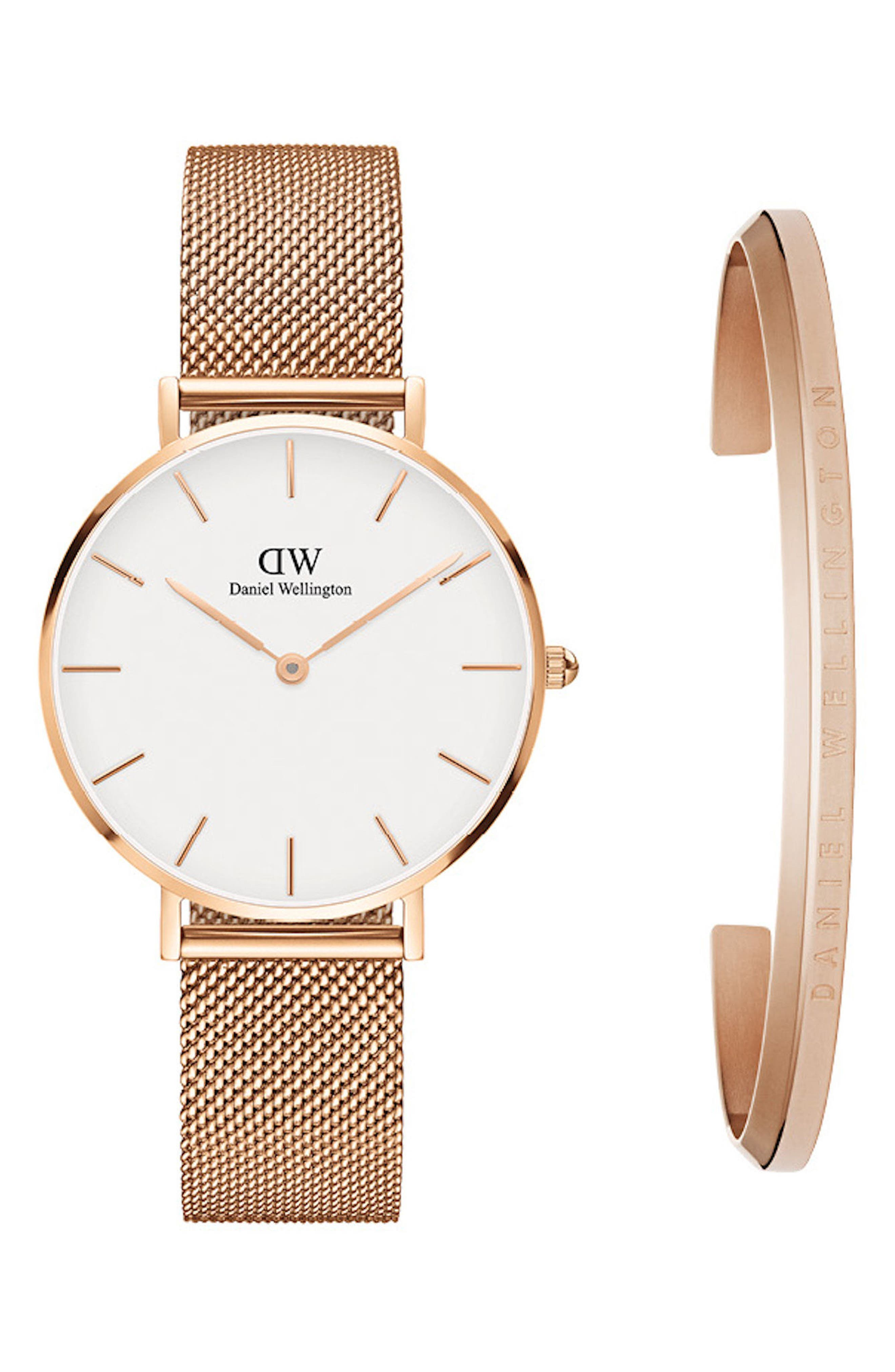 Classic Petite Mesh Strap Watch & Cuff Gift Set, 32mm,                         Main,                         color, ROSE GOLD/ WHITE/ ROSE GOLD