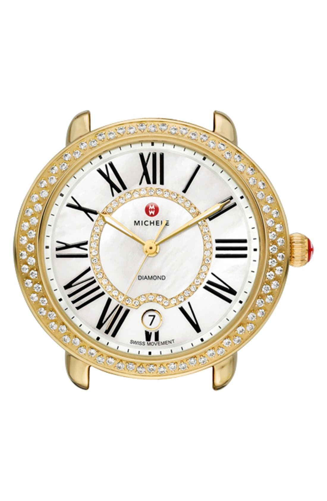 Serein 16 Diamond Gold Plated Watch Case, 34mm x 36mm,                             Main thumbnail 1, color,                             GOLD
