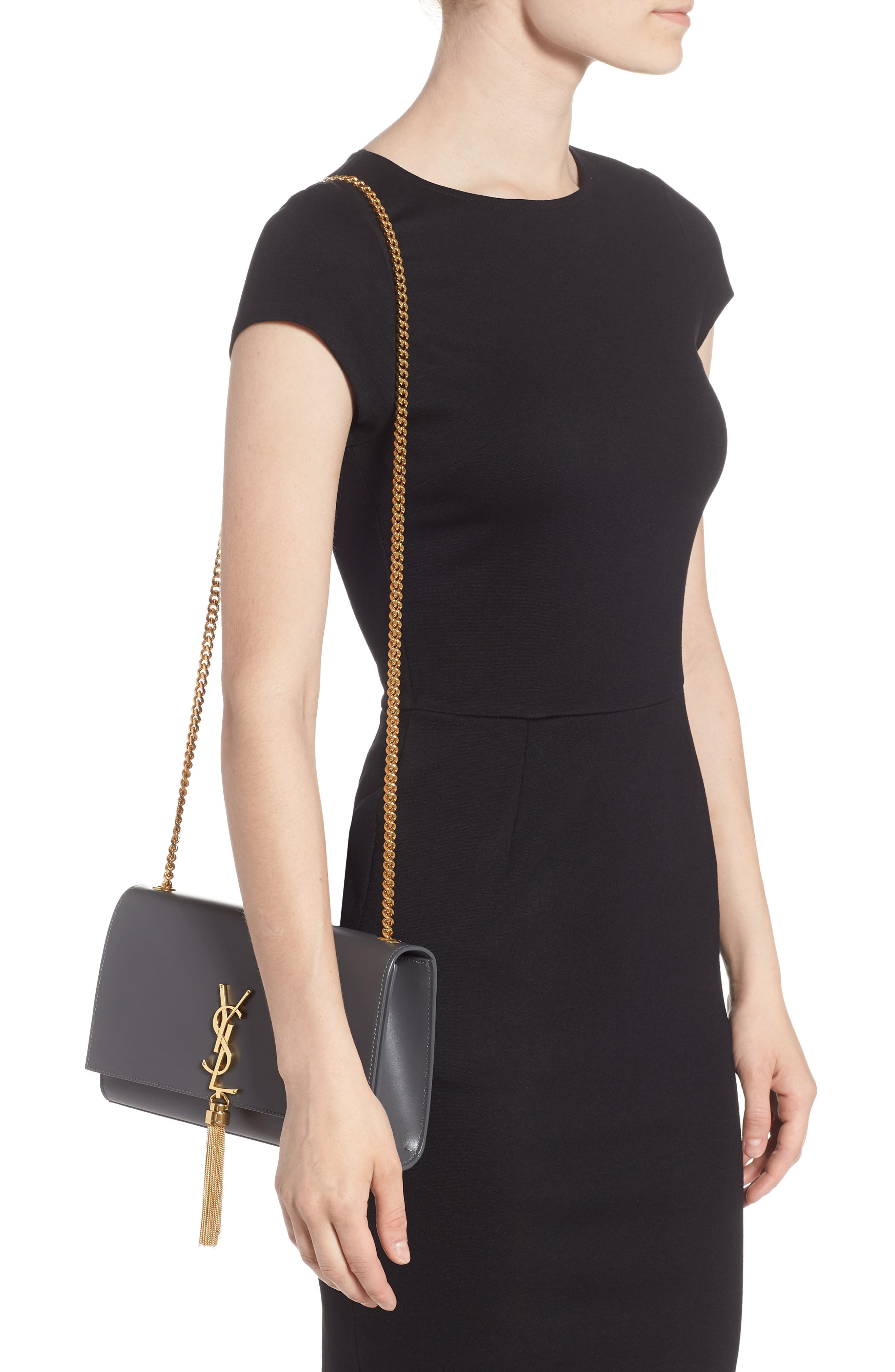 'Medium Monogram' Leather Shoulder Bag,                             Alternate thumbnail 2, color,                             STORM
