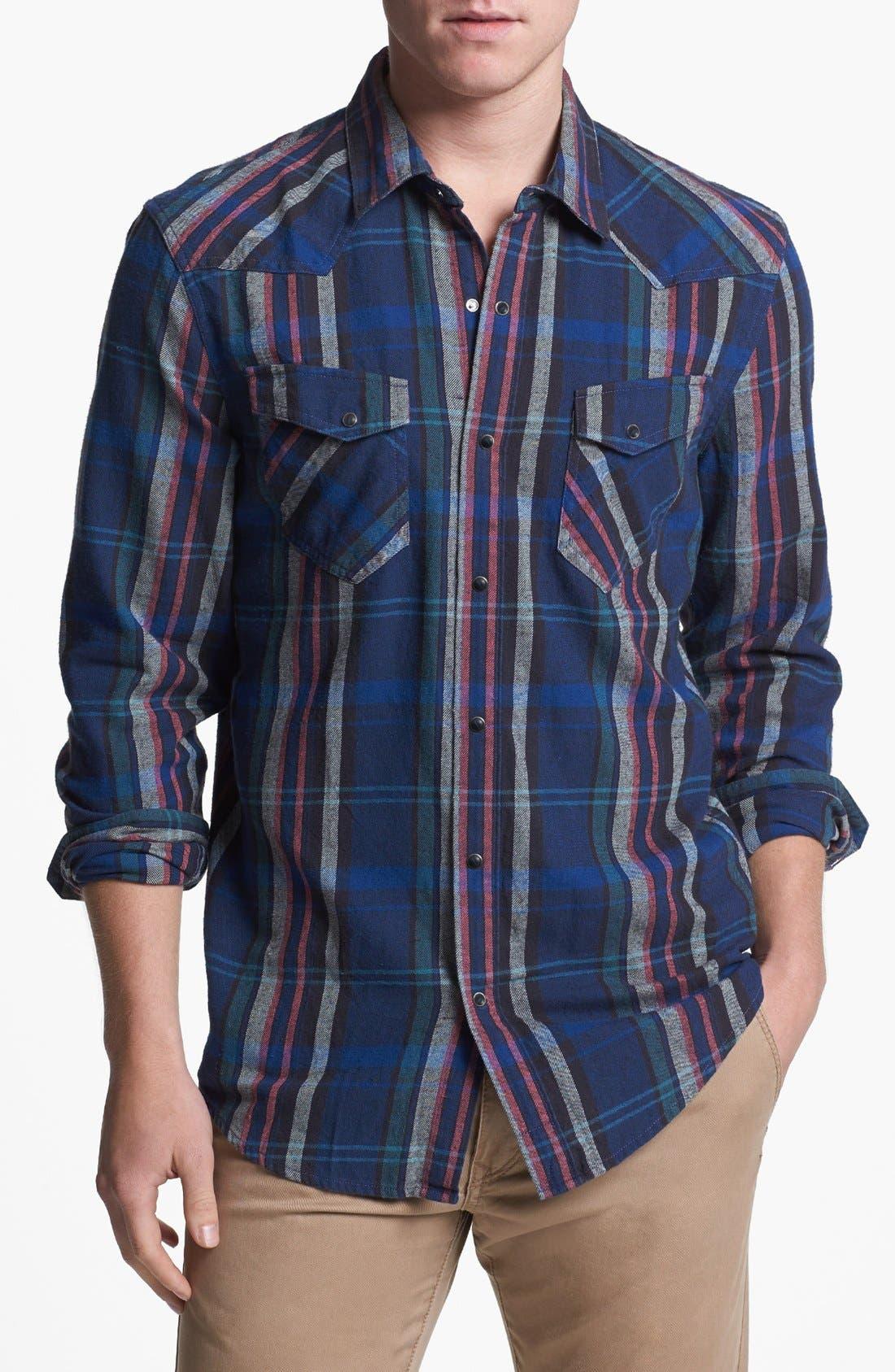 Plaid Flannel Western Shirt, Main, color, 001