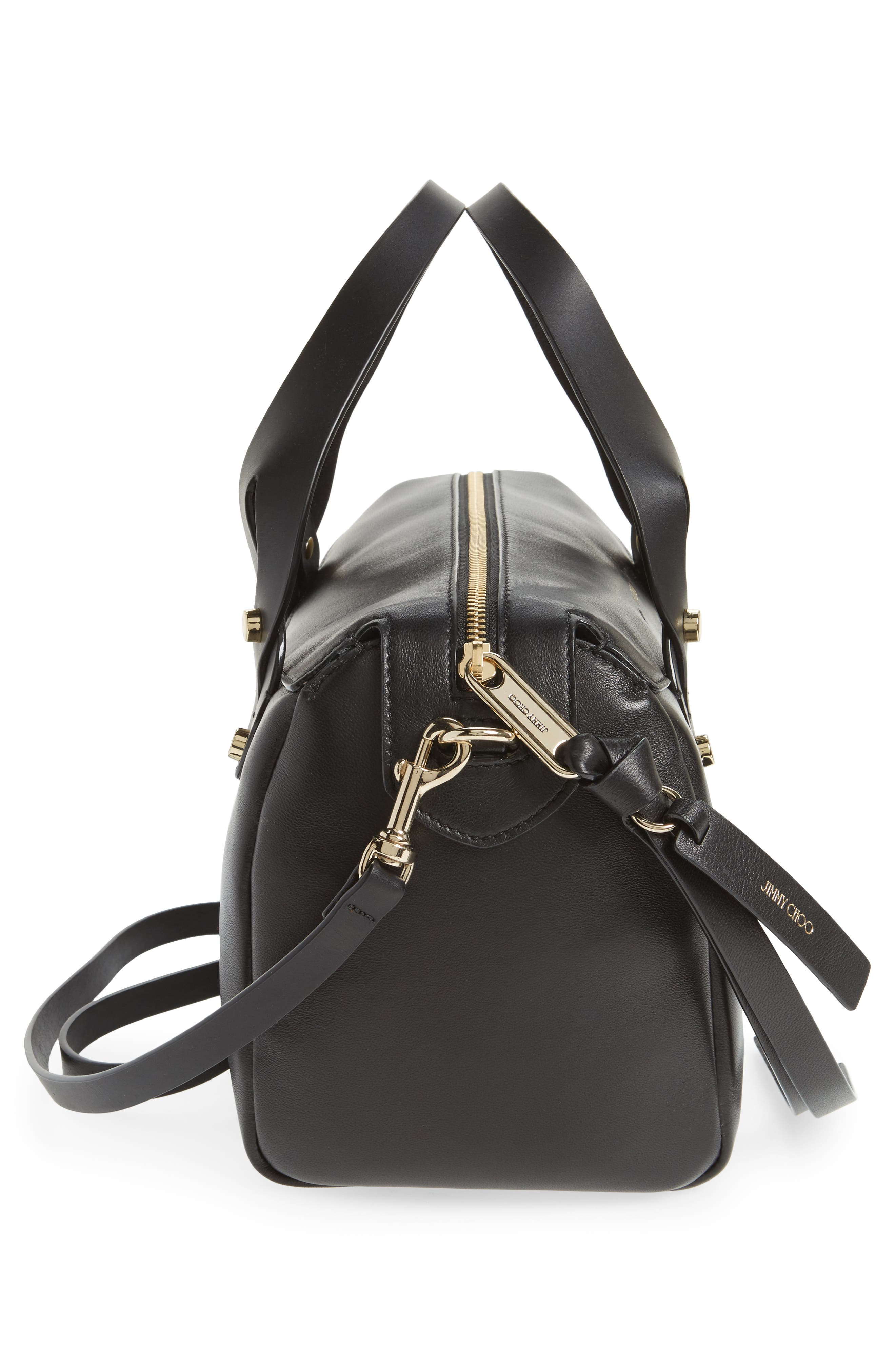Small Allie Nappa Leather Bowling Bag,                             Alternate thumbnail 5, color,                             001