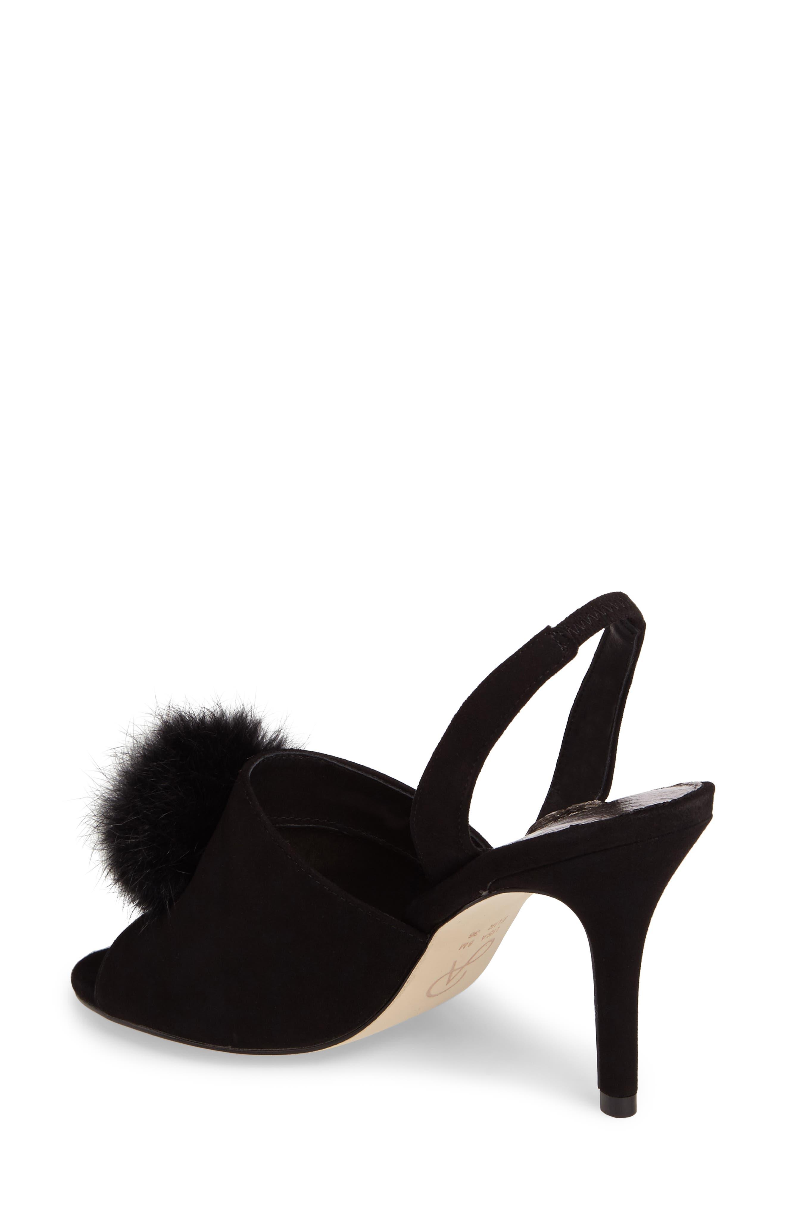 Alecia Genuine Rabbit Fur Pompom Sandal,                             Alternate thumbnail 3, color,