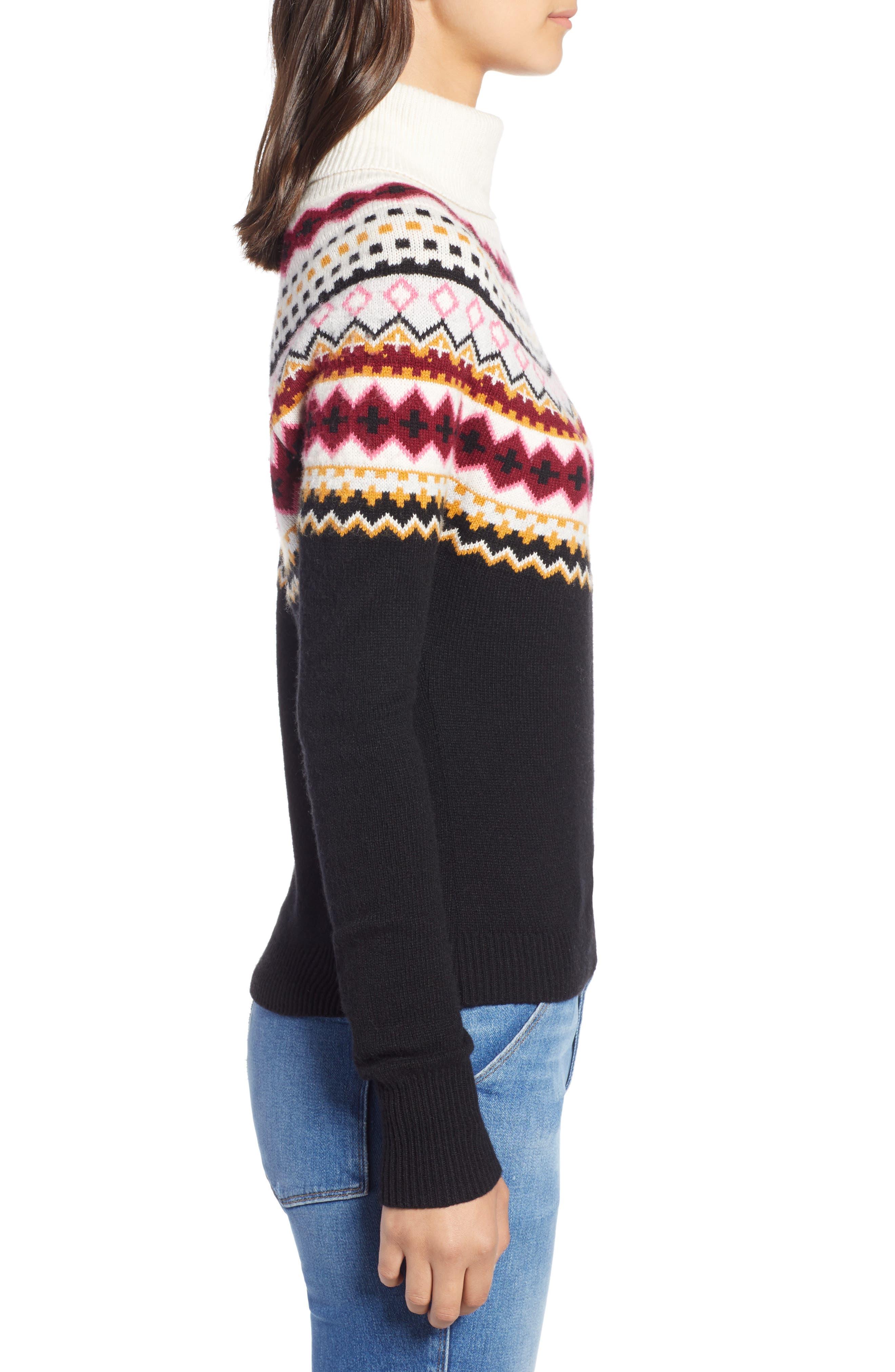 Fair Isle Turtleneck Sweater,                             Alternate thumbnail 3, color,                             001
