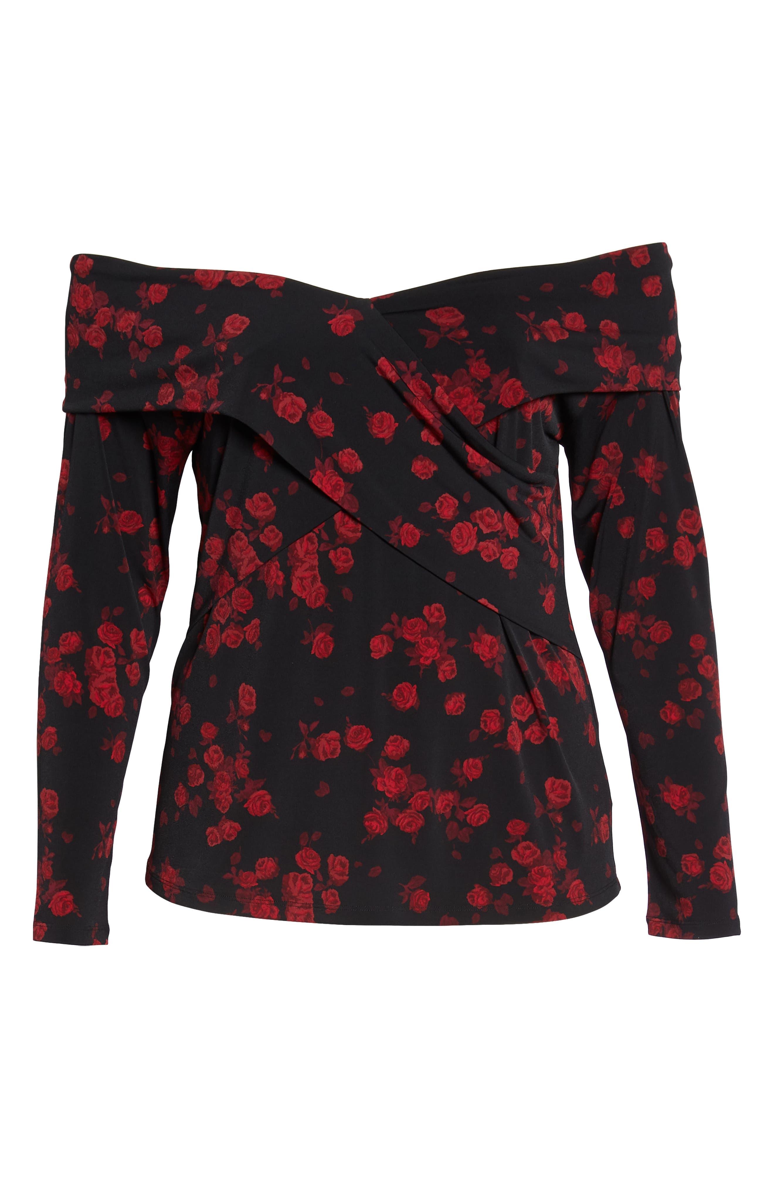 Off the Shoulder Rose Top,                             Alternate thumbnail 6, color,                             BLACK/ RED CURRANT