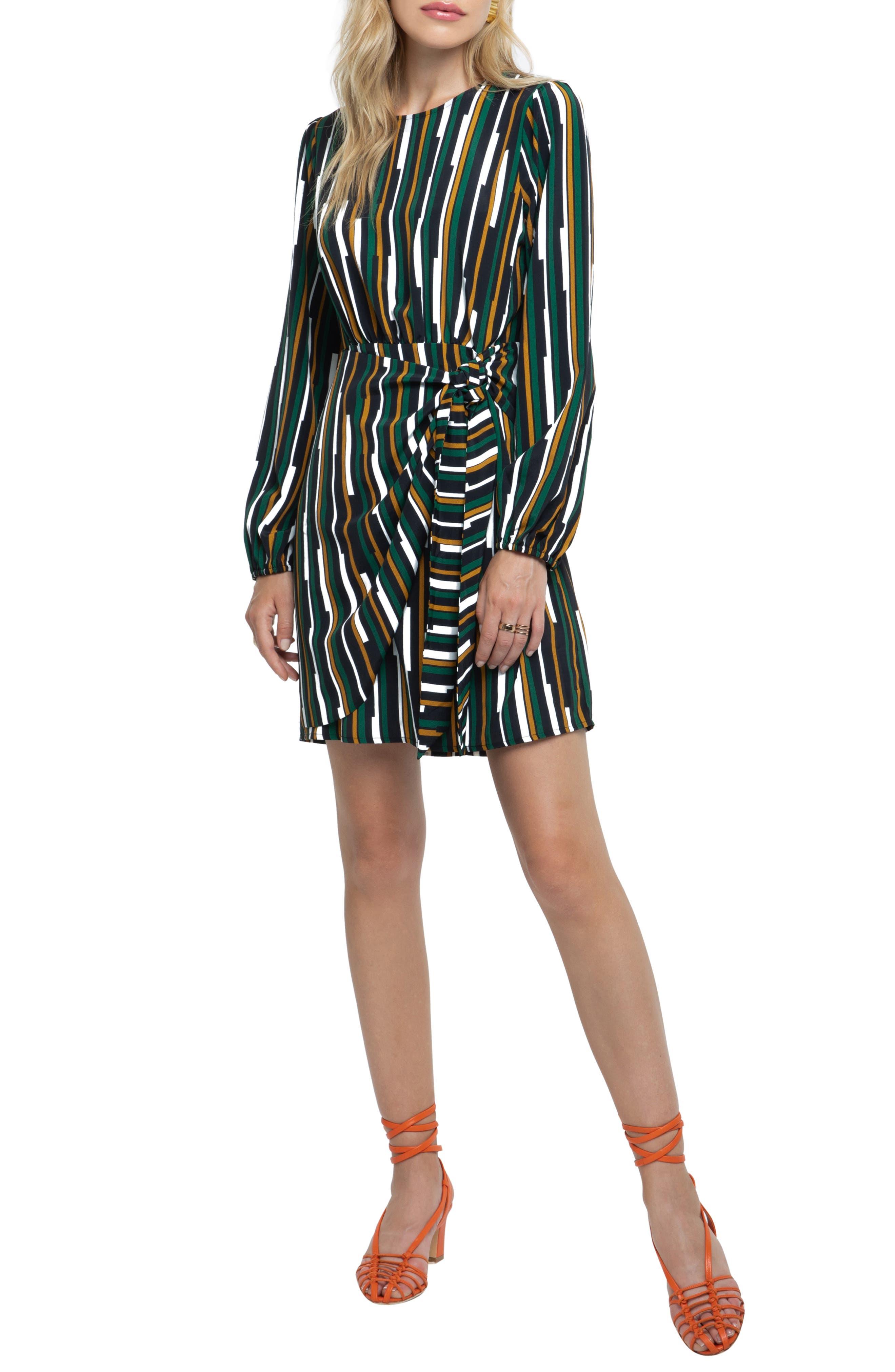 Wrap Skirt Dress, Main, color, BLACK/ GREEN MULTI