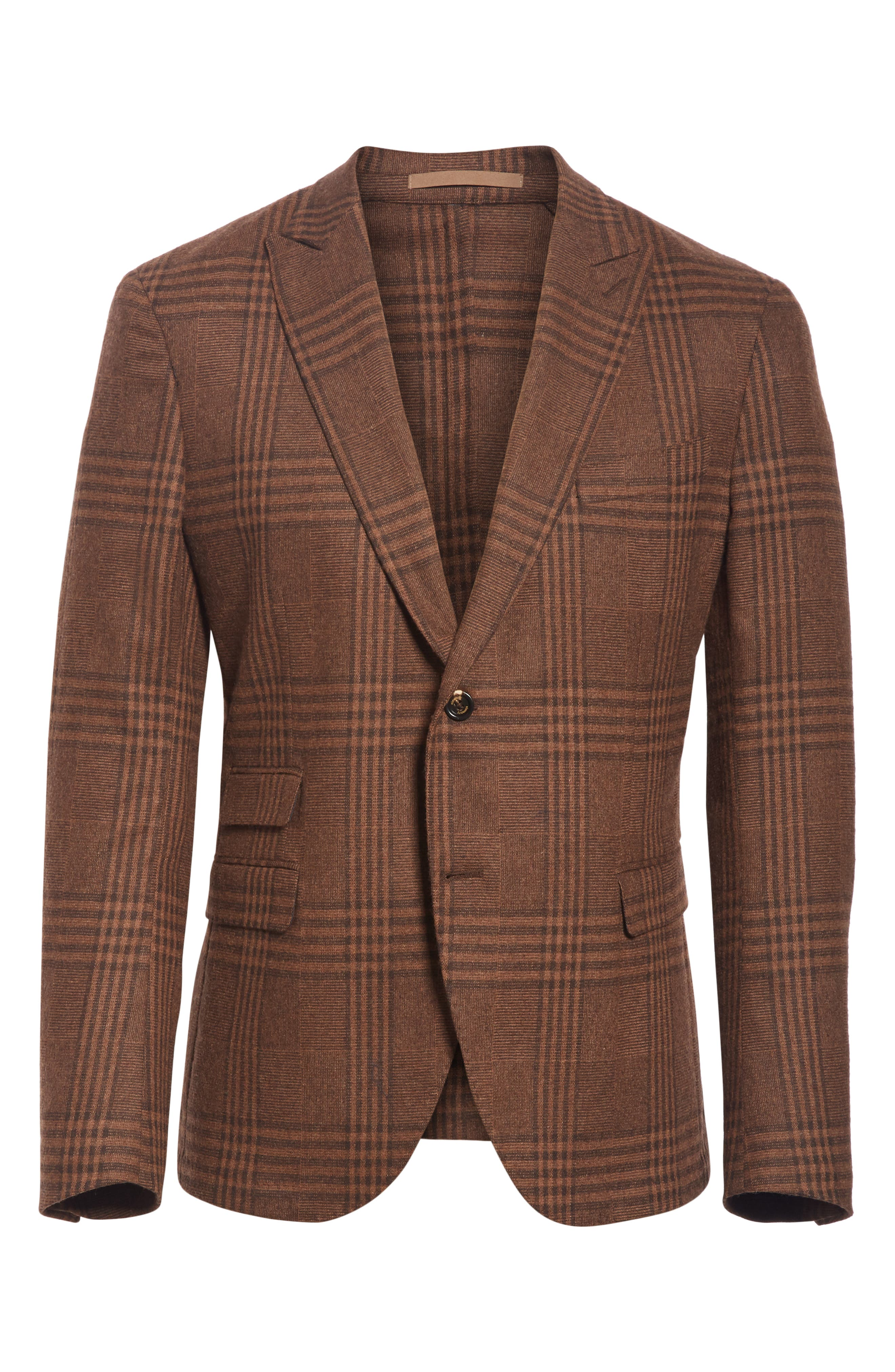 Trim Fit Plaid Stretch Wool Blend Sport Coat,                             Alternate thumbnail 5, color,                             BROWN