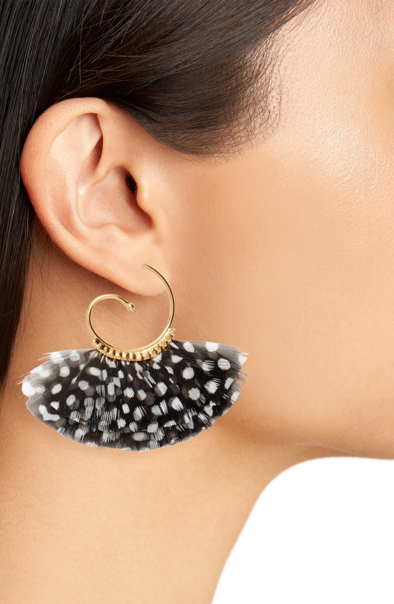 Buzios Feather Hoop Earrings,                             Alternate thumbnail 2, color,                             BLACK