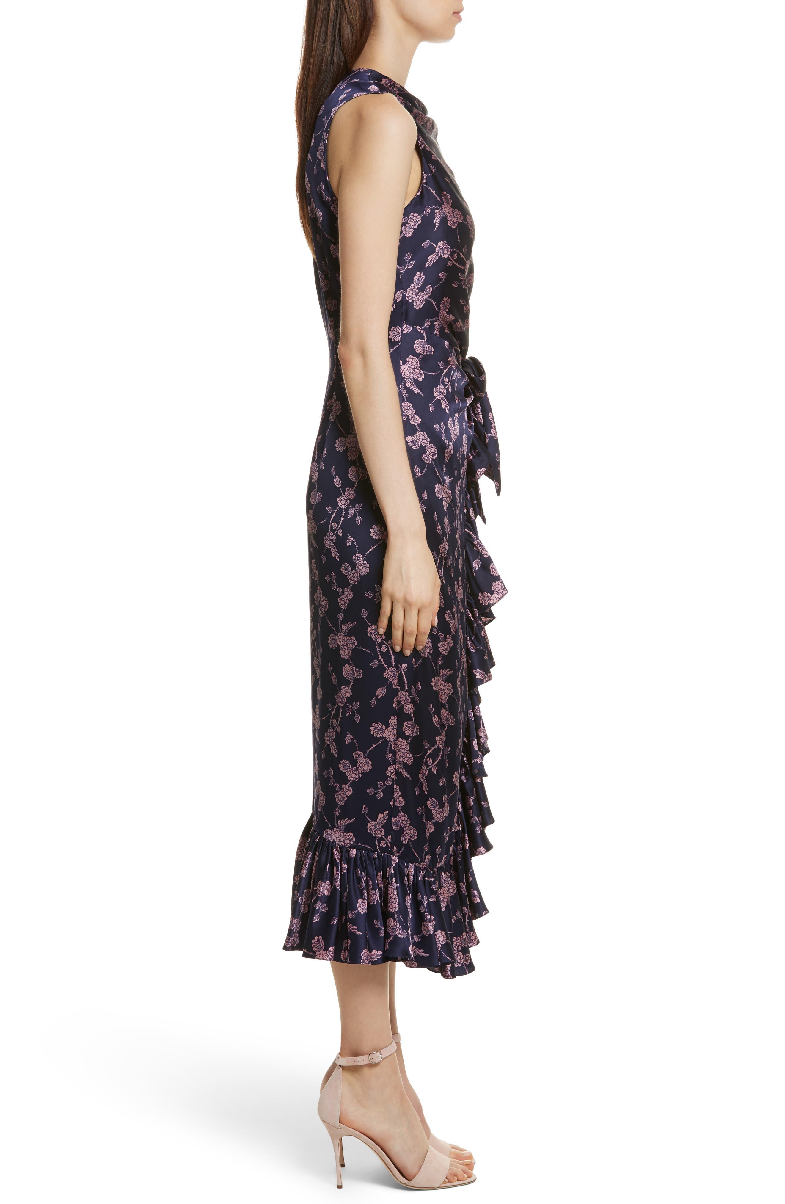Nanon Knotted Silk Dress,                             Alternate thumbnail 3, color,                             699