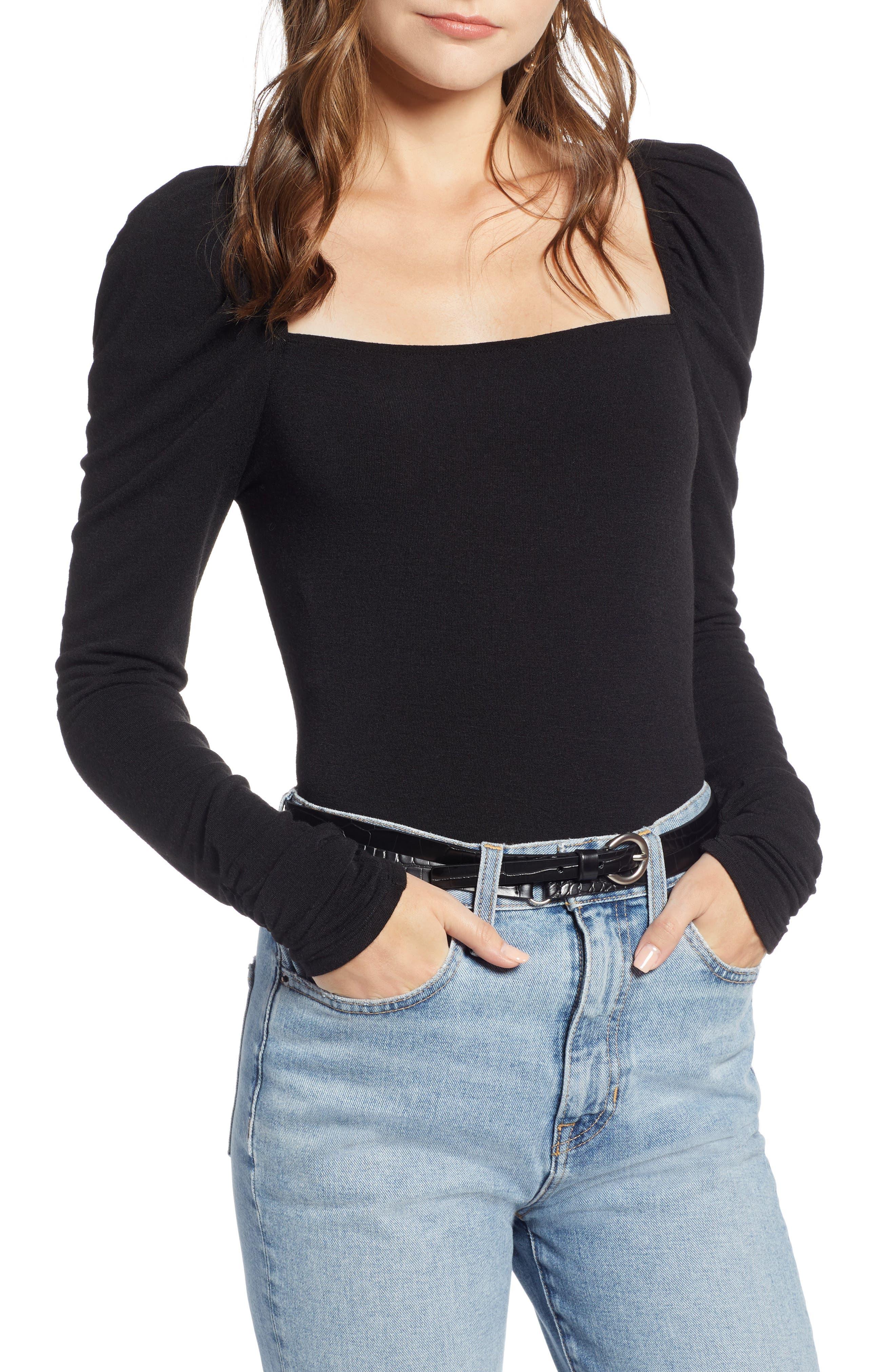 Square Neck Slim Knit Top,                         Main,                         color, 001
