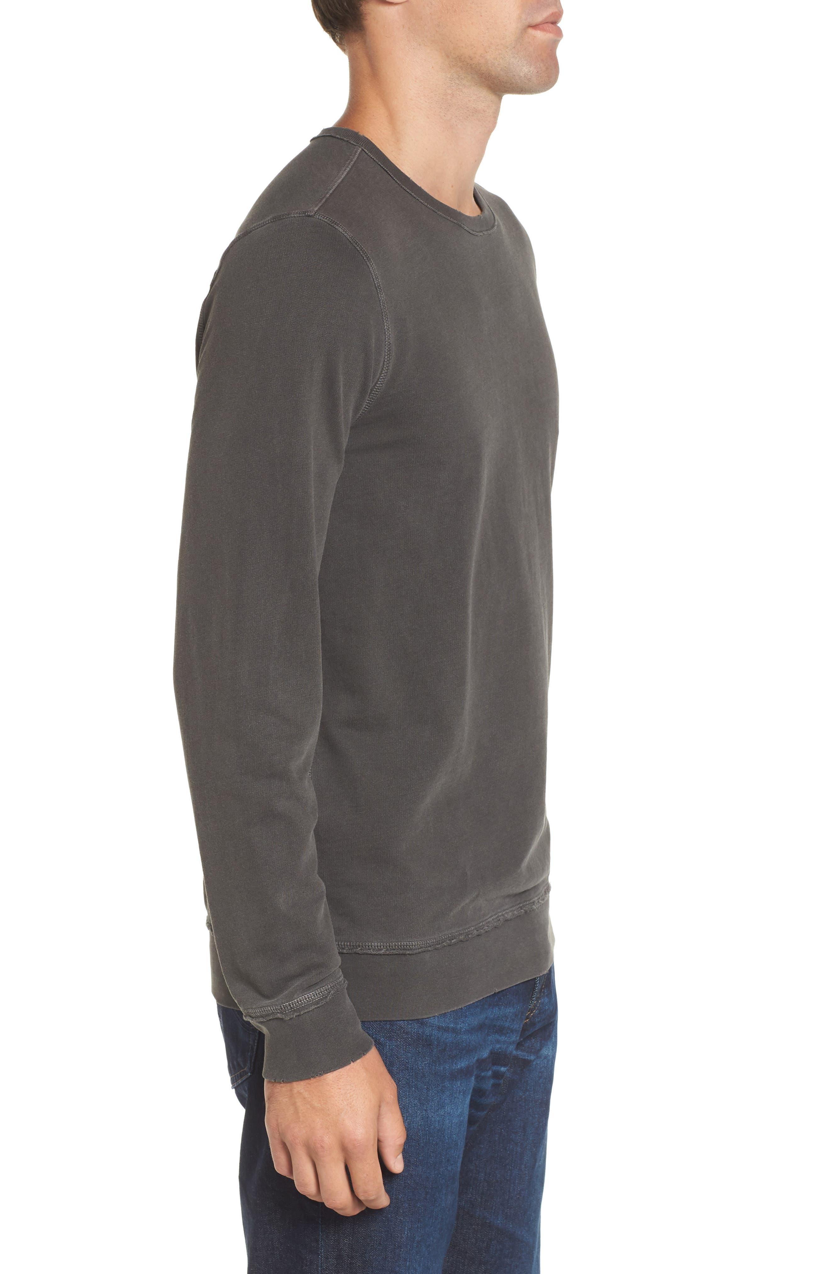 Brendan Raw Edge Crewneck Sweatshirt,                             Alternate thumbnail 3, color,                             001