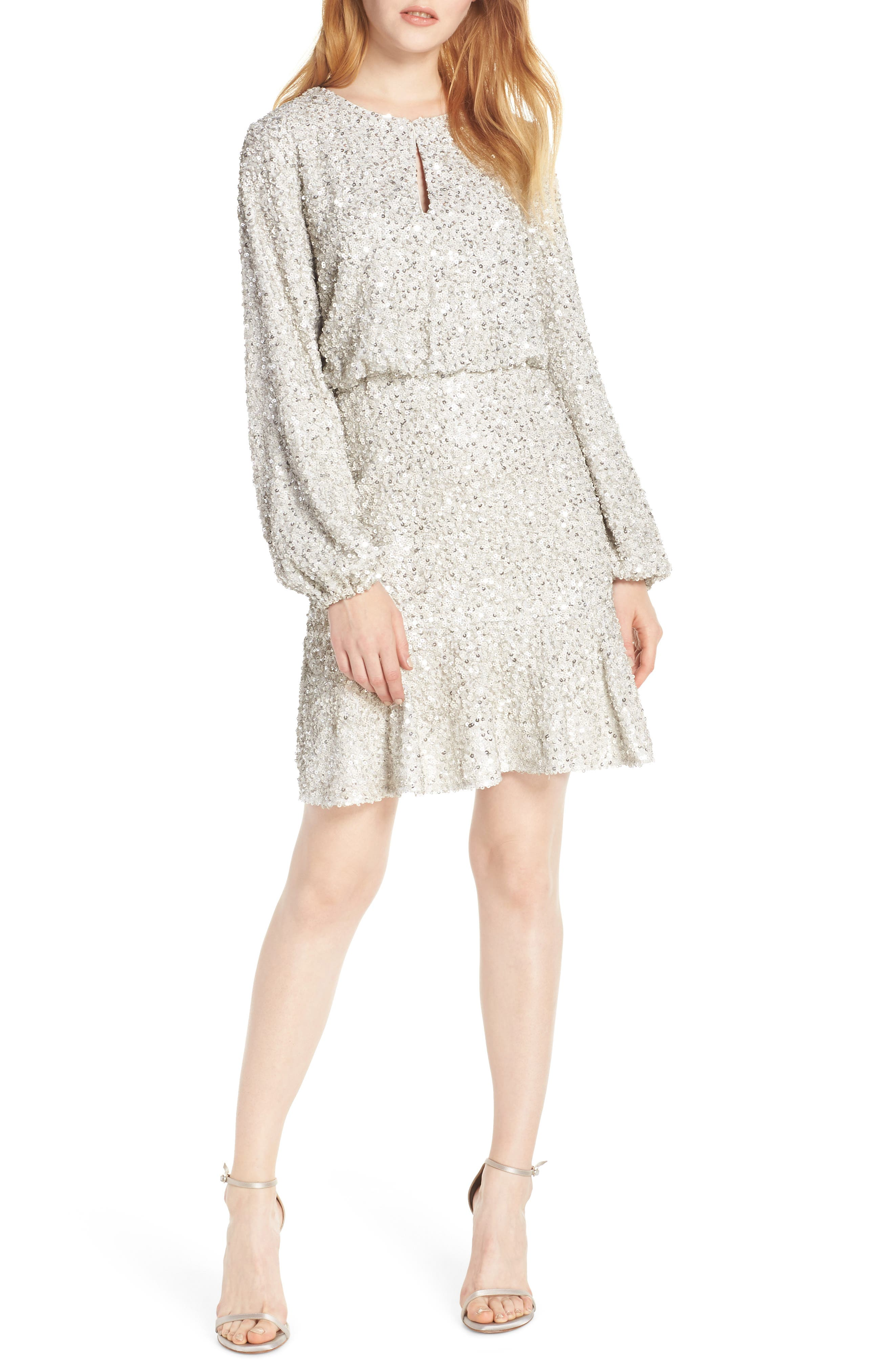 Sequin Ruffle Hem Dress,                             Main thumbnail 1, color,                             SILVER
