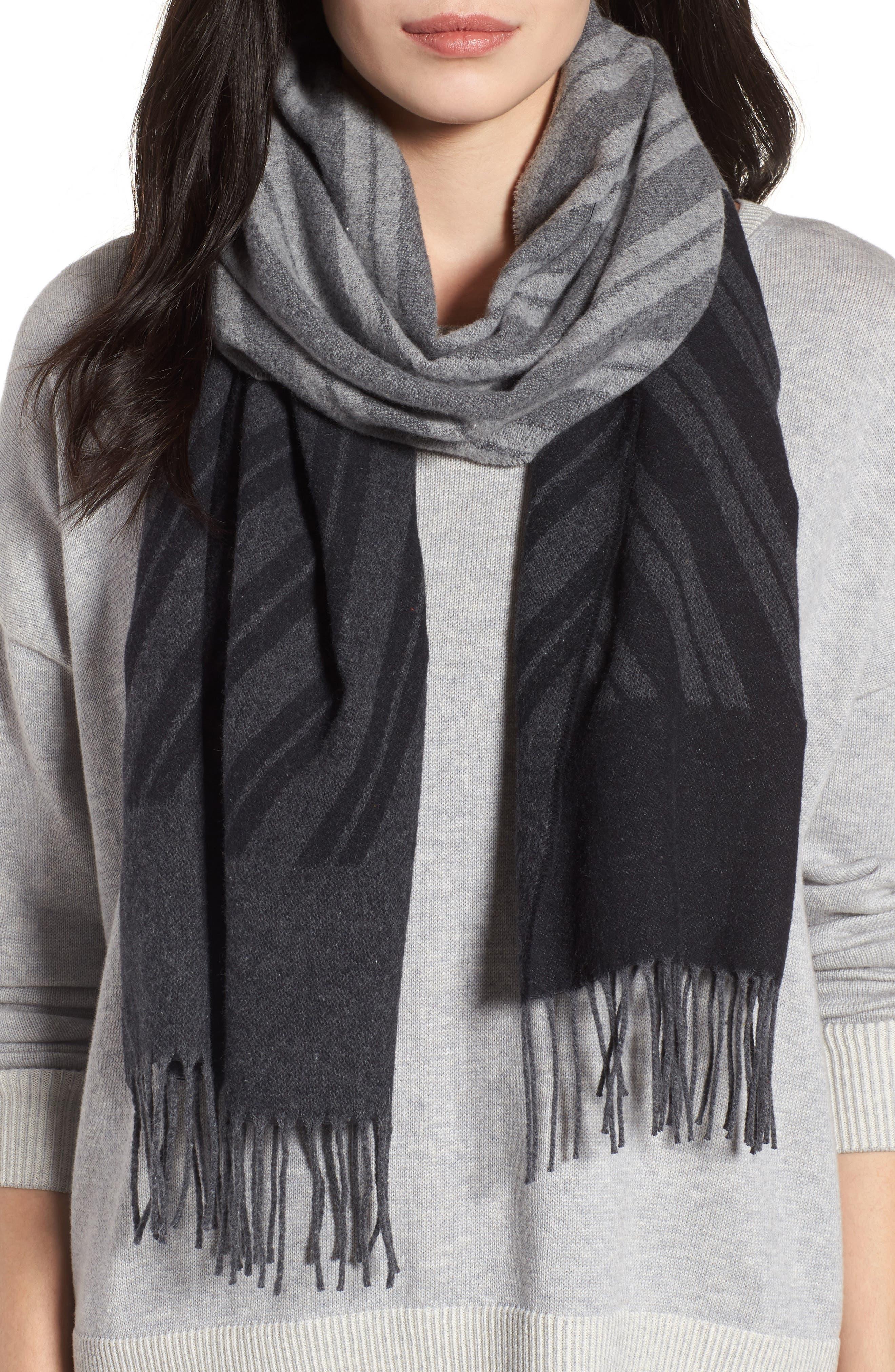 Colorblock Stripe Cotton Scarf,                             Main thumbnail 1, color,                             030