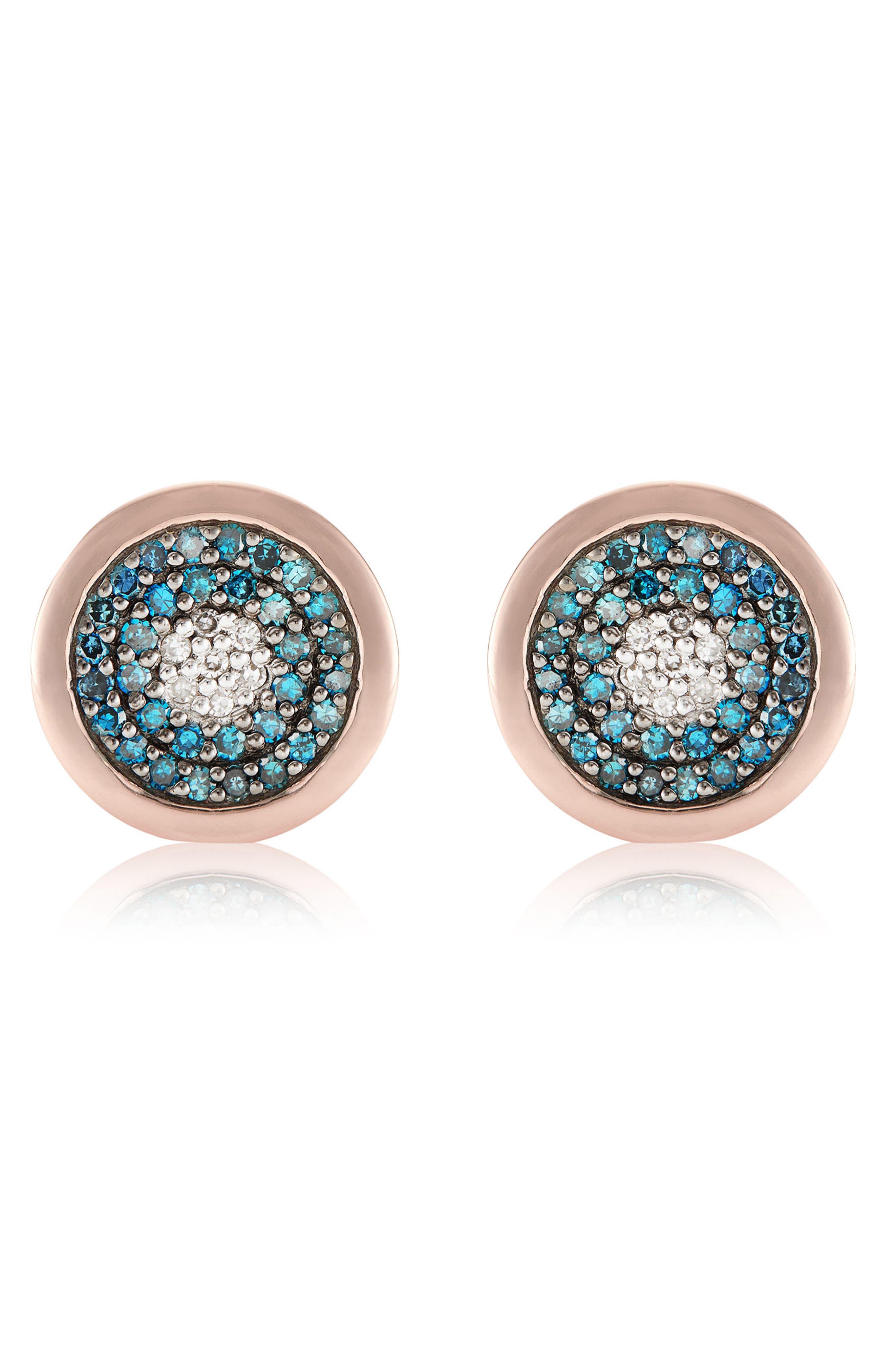 Evil Eye Stud Diamond Earrings,                             Main thumbnail 1, color,                             ROSE GOLD/ BLUE DIAMOND
