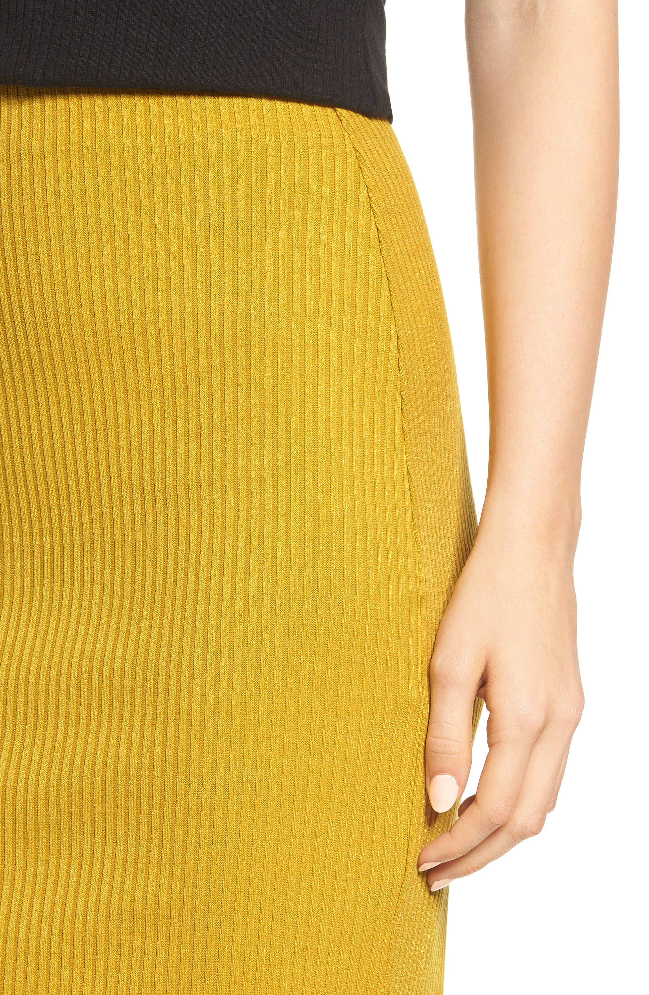 Rib Knit Pencil Skirt,                             Alternate thumbnail 4, color,