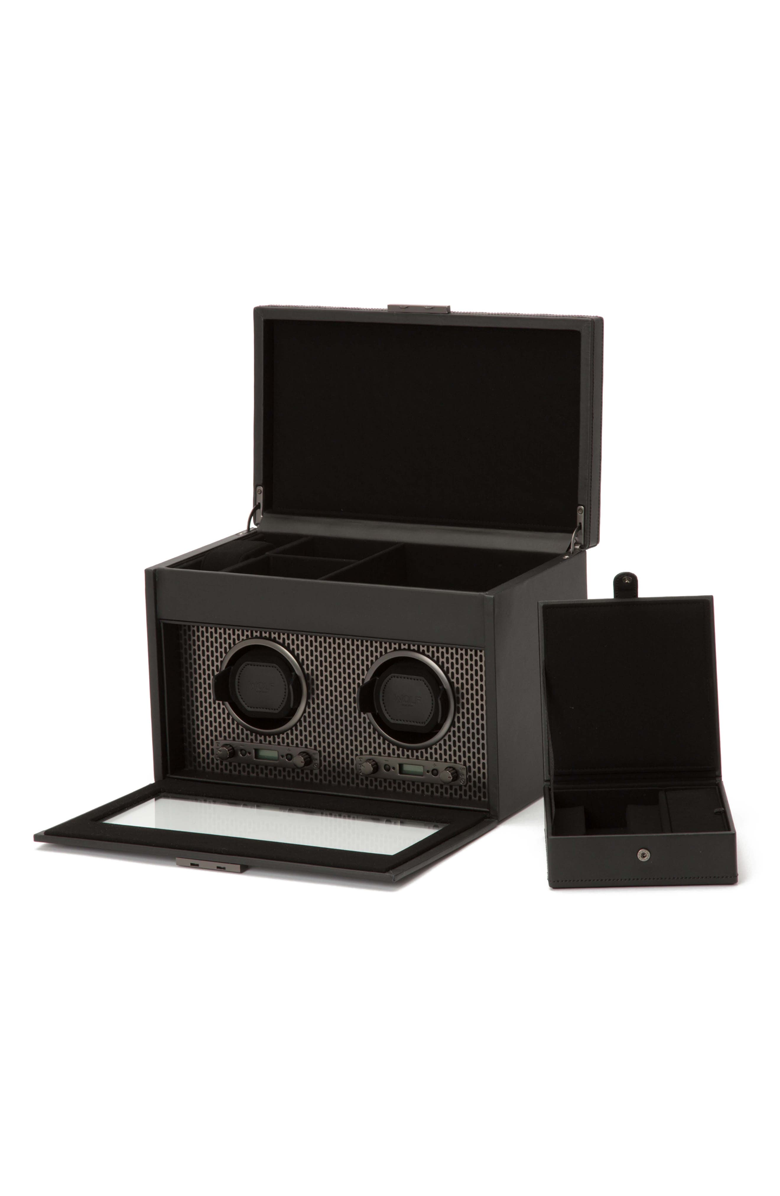 Axis Double Watch Winder & Case,                             Alternate thumbnail 2, color,                             POWDER COAT