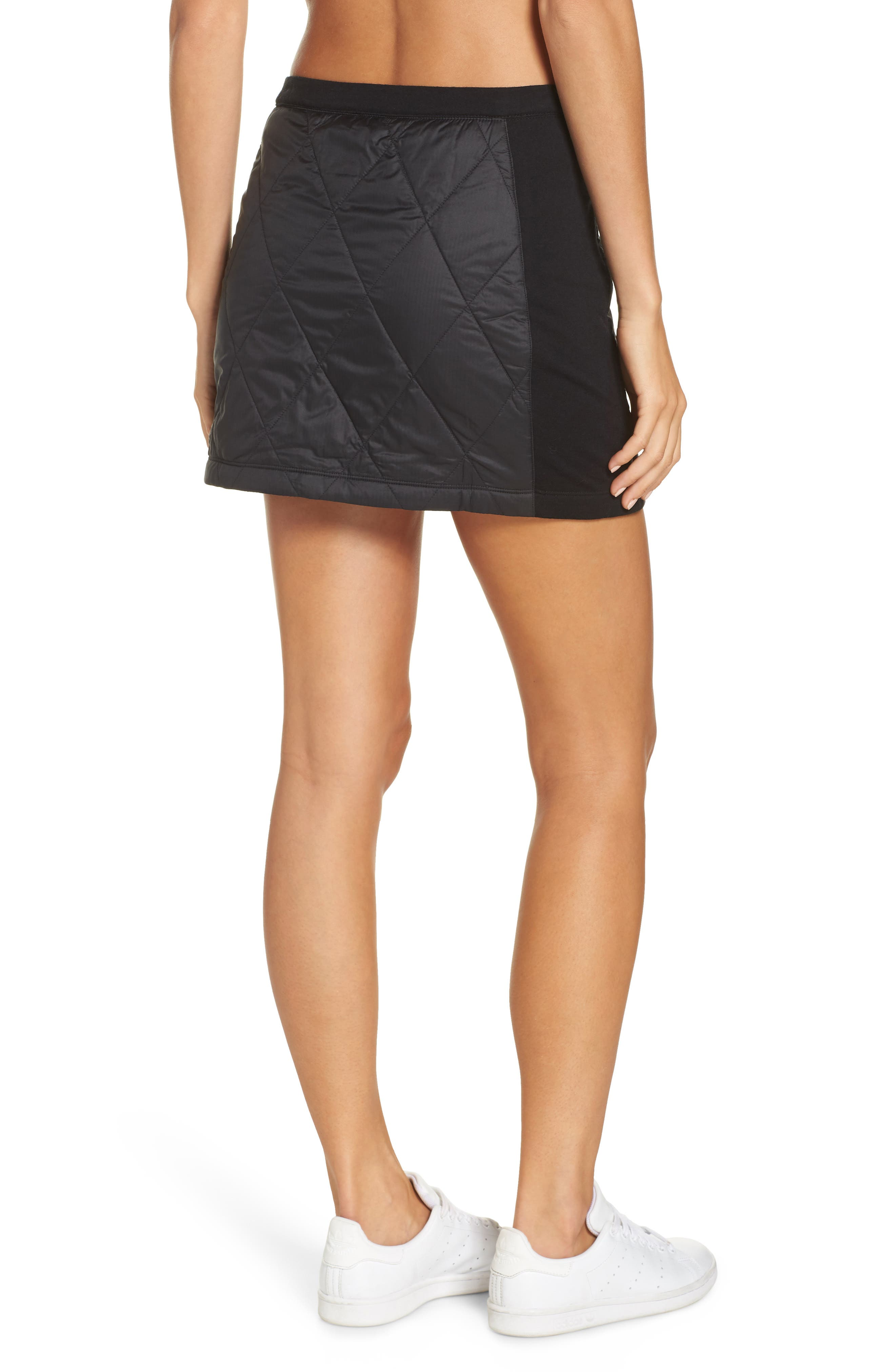 Helix Quilted Wool Blend Skirt,                             Alternate thumbnail 2, color,                             BLACK