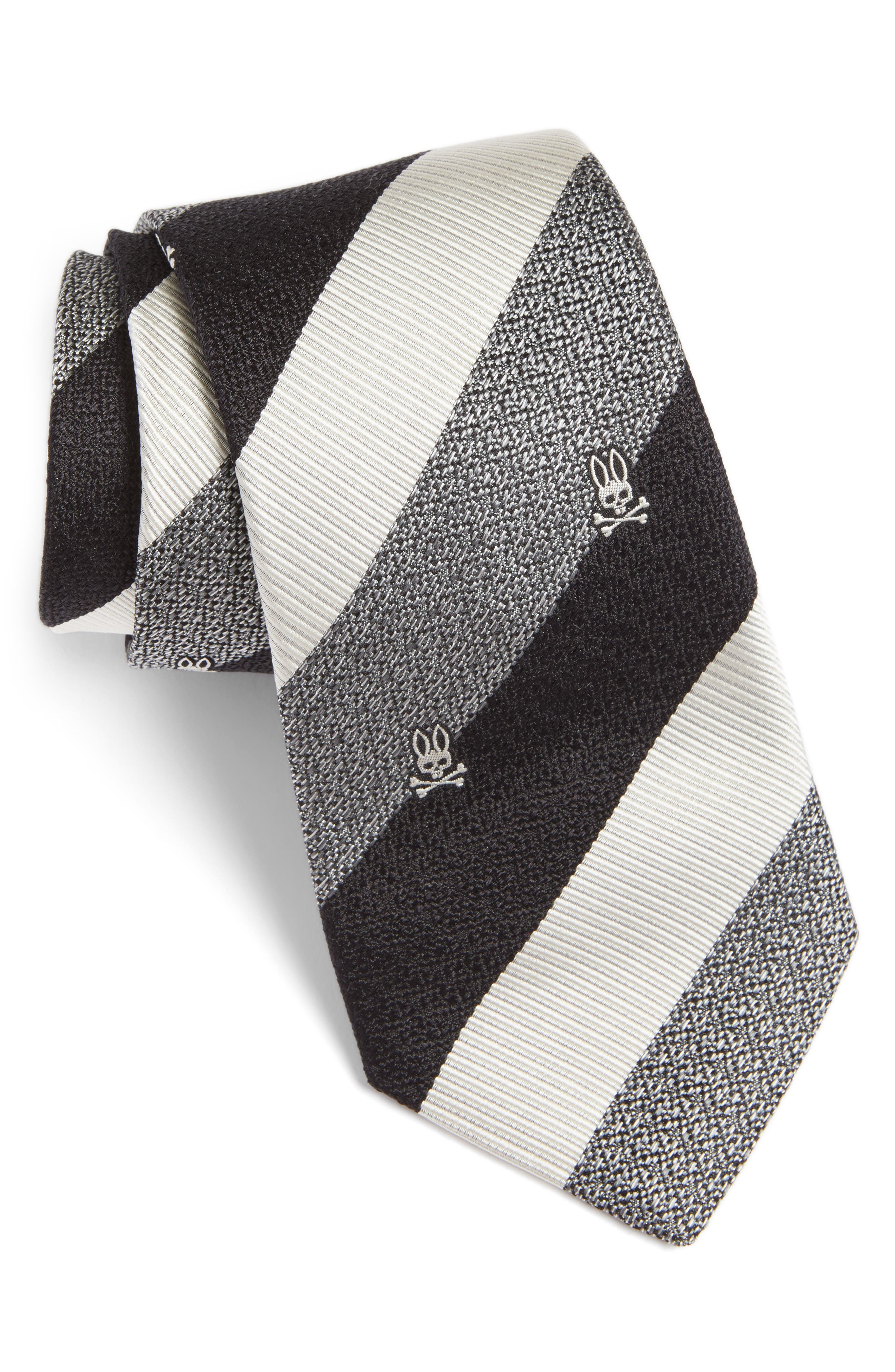Wide Stripe Silk Tie,                         Main,                         color, 020