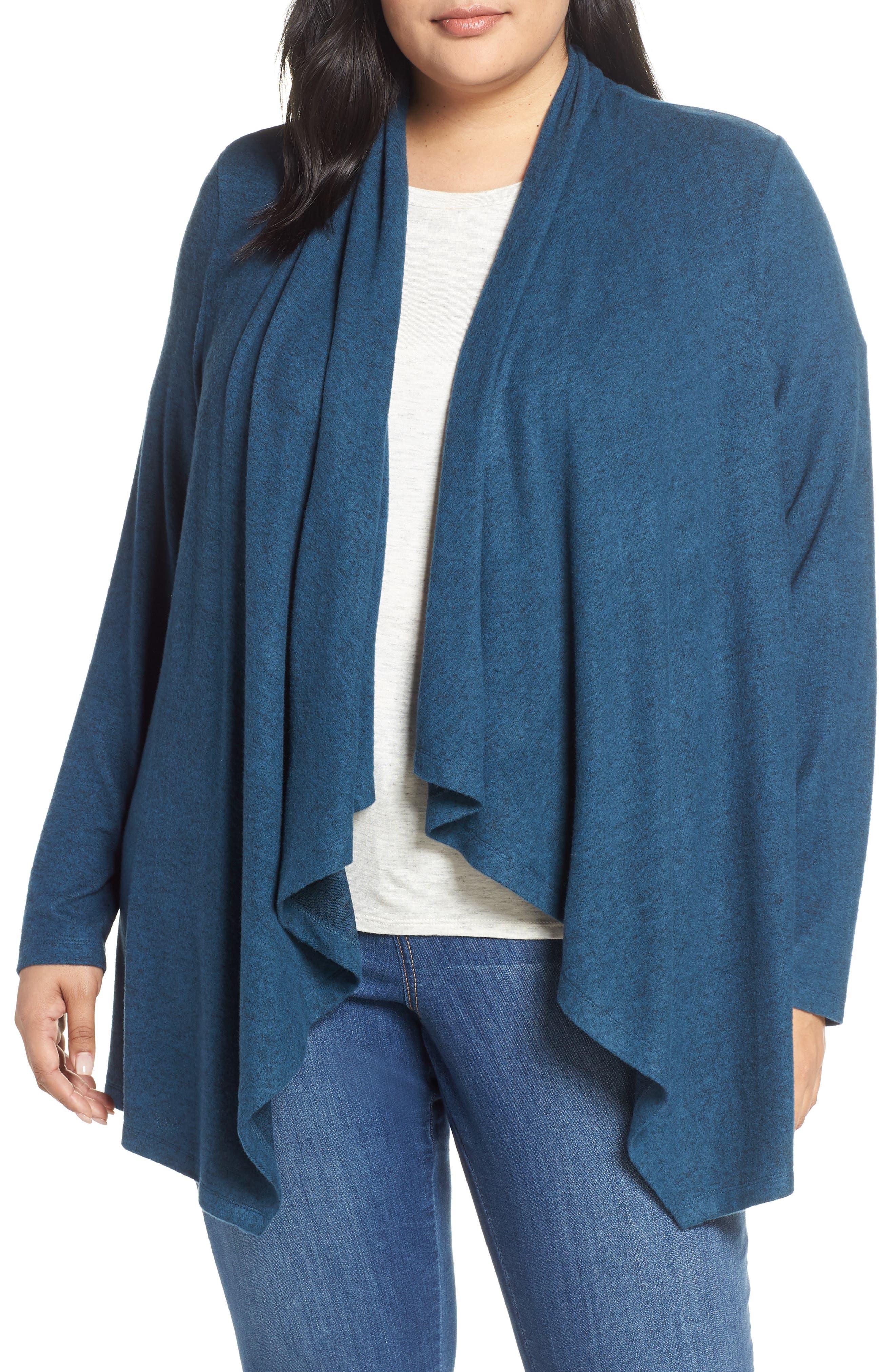 Plus Size Bobeau Amie Waterfall Cardigan, Blue/green