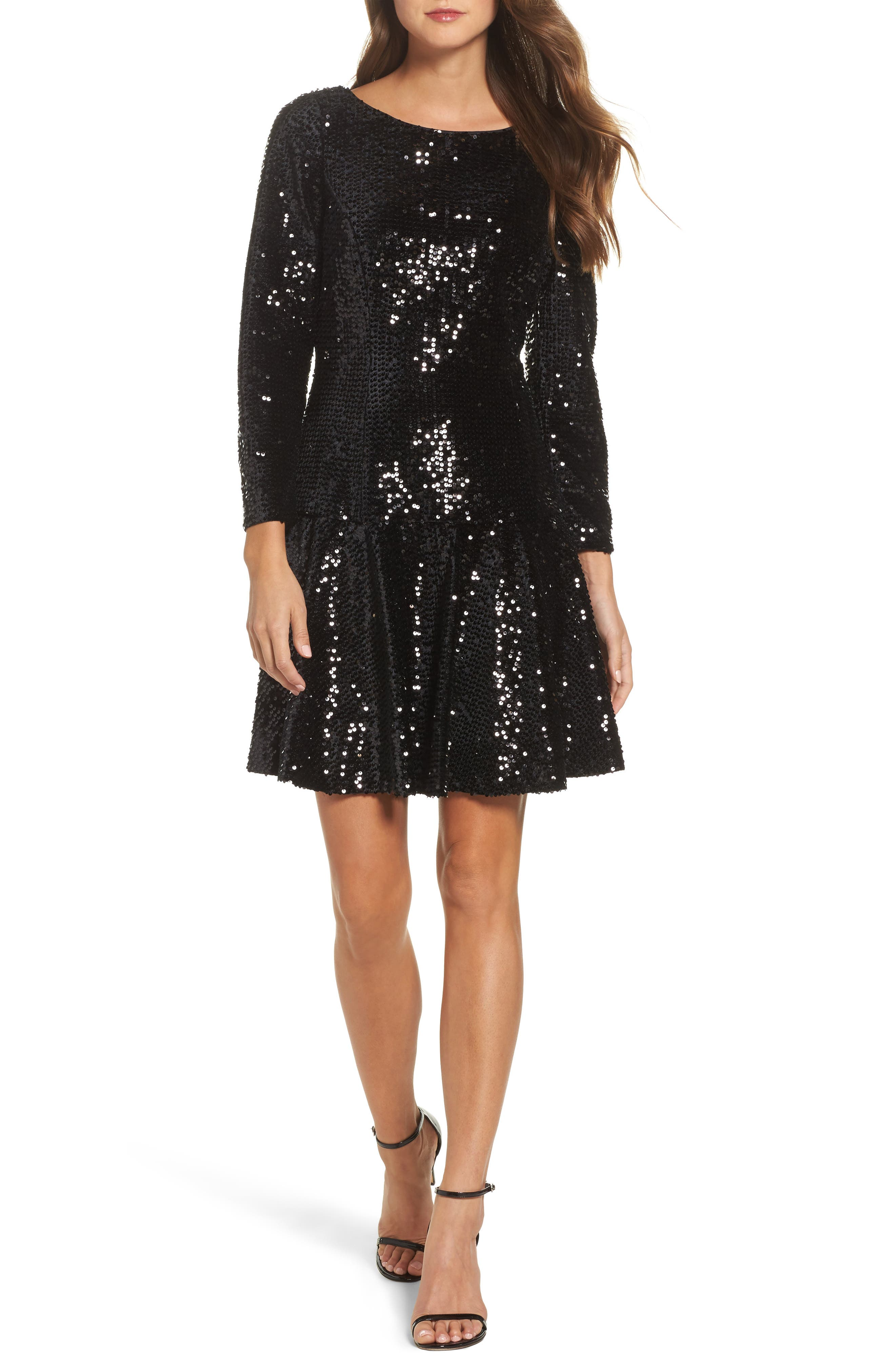 Sequin Fit & Flare Dress,                         Main,                         color, 001