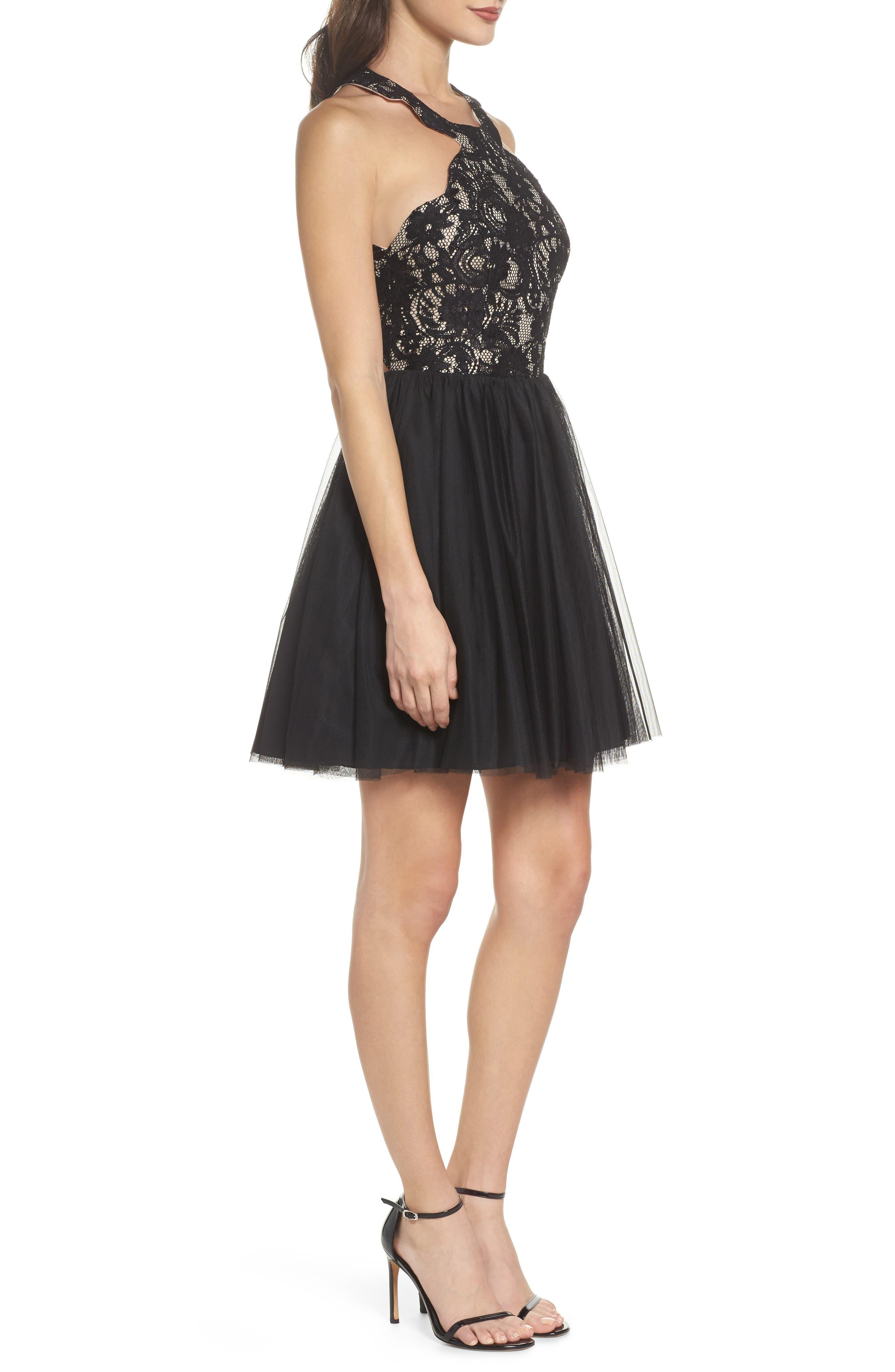 Lace Halter Neck Dress,                             Alternate thumbnail 3, color,                             006