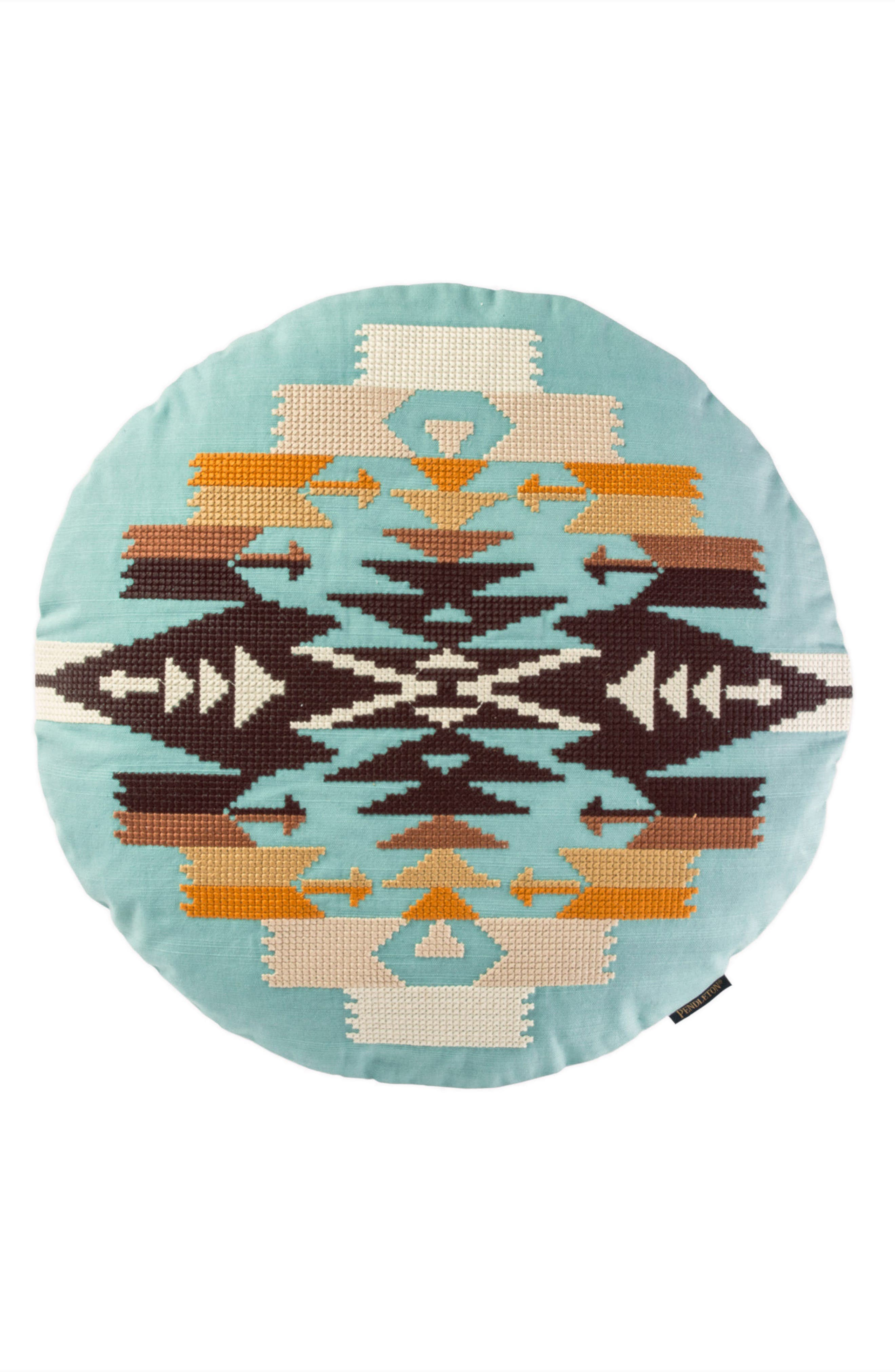 Tucson Saddle Exploded Cross Stitch Pillow,                         Main,                         color, AQUA