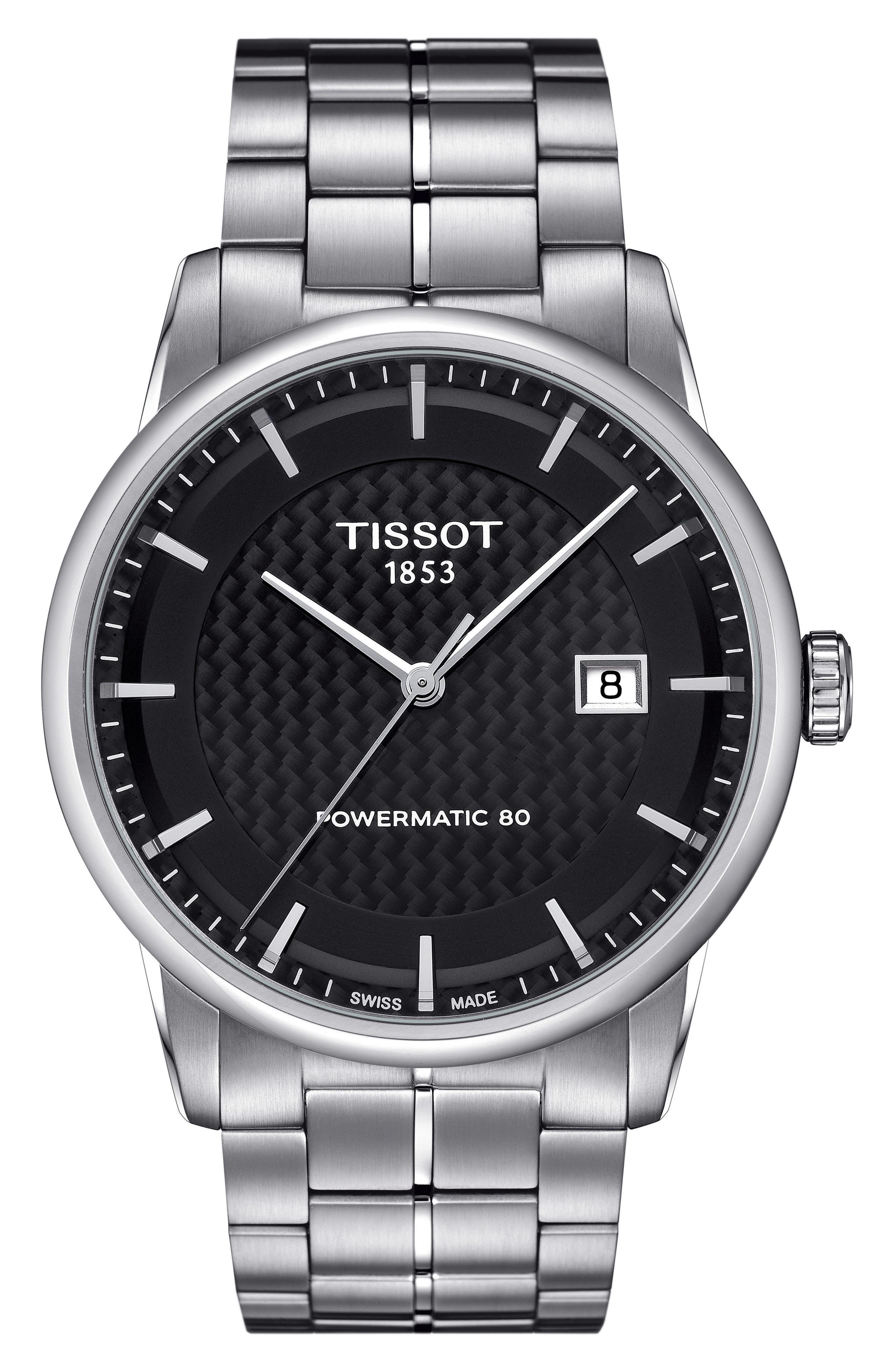 Luxury GTS Automatic Bracelet Watch, 41mm,                             Main thumbnail 1, color,                             SILVER/ BLACK/ SILVER