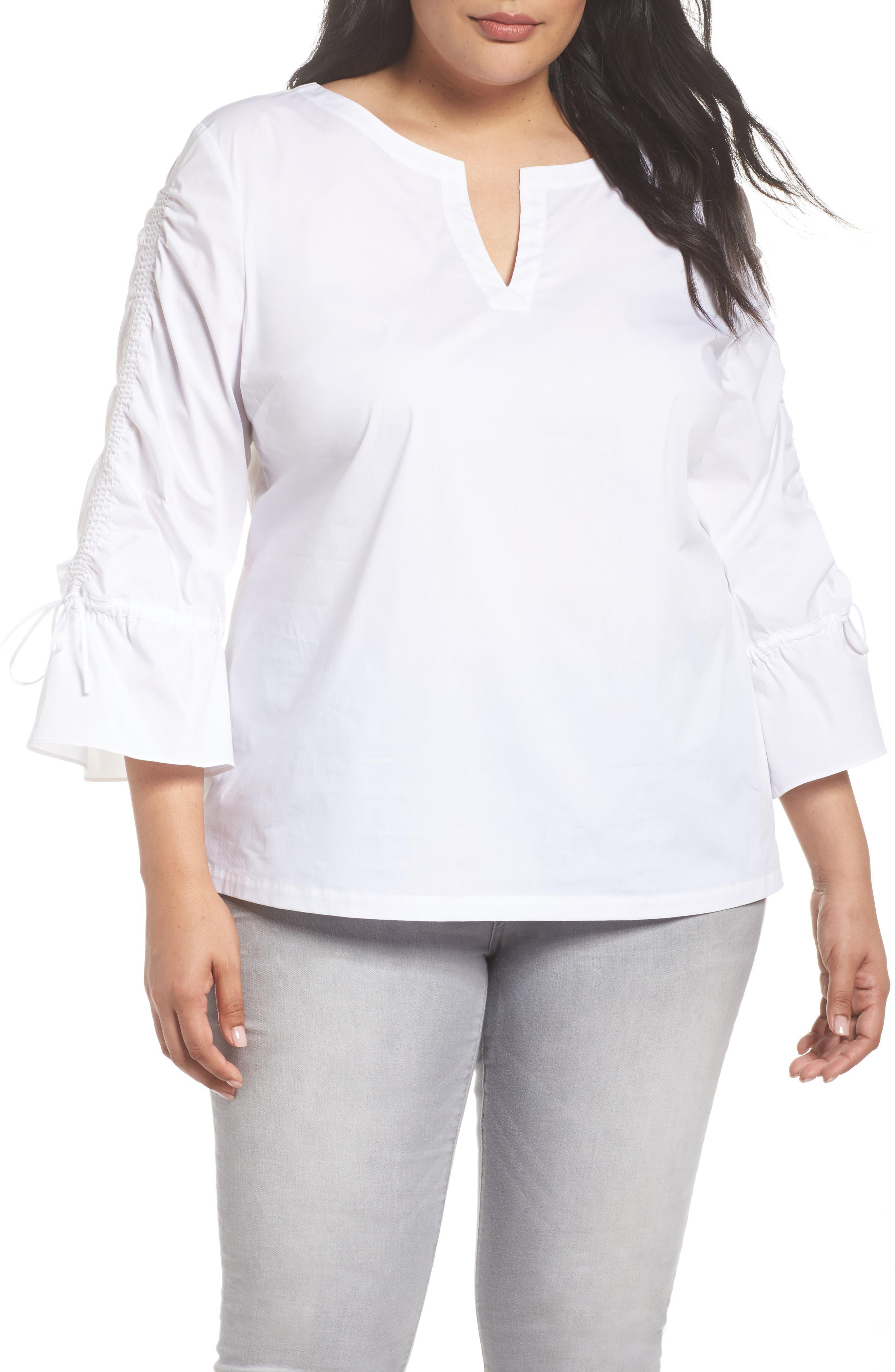 Flare Sleeve Poplin Top,                         Main,                         color, 100