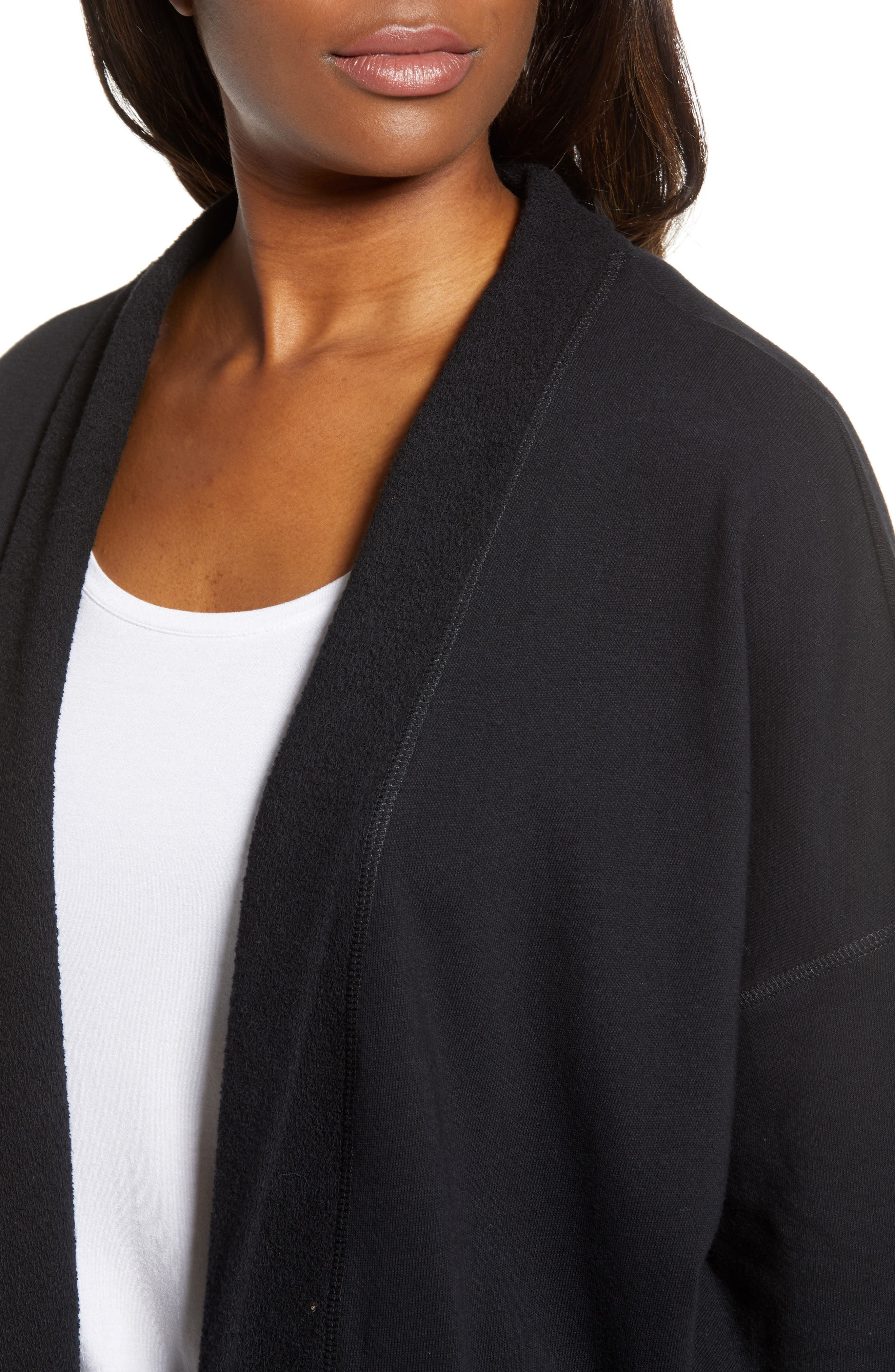 Off-Duty Roll Sleeve Cotton Blend Jacket,                             Alternate thumbnail 4, color,                             001