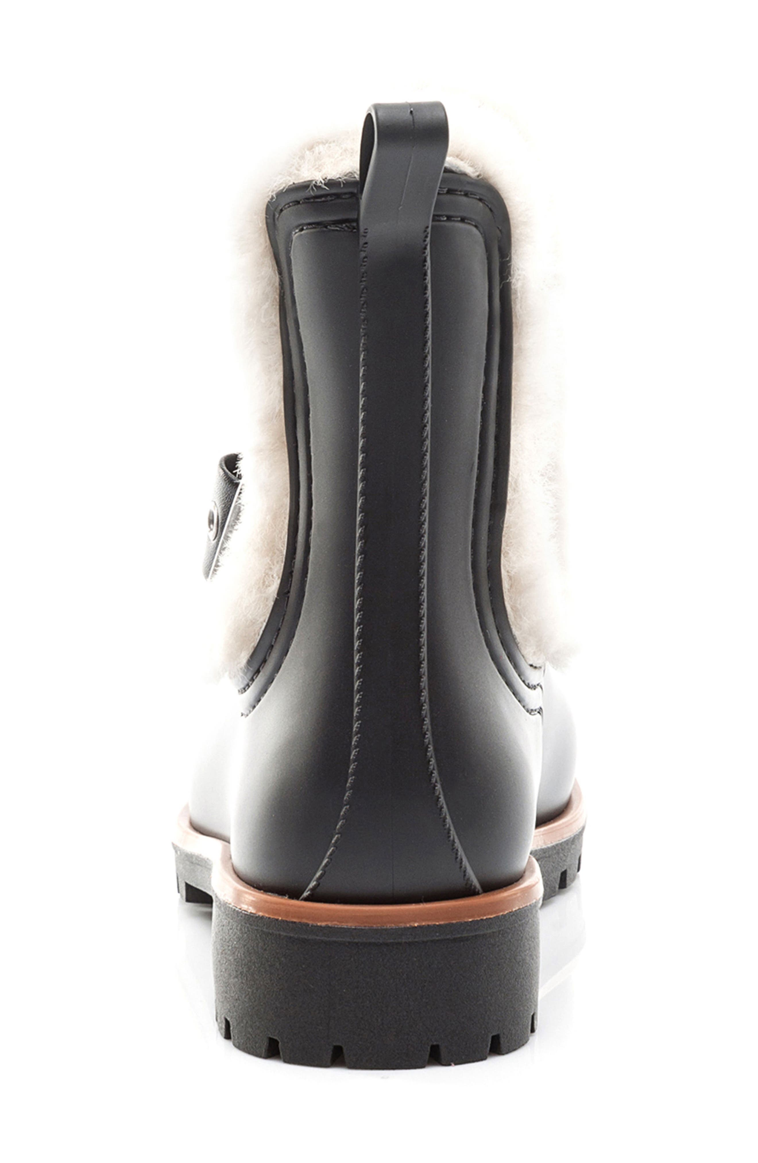 Bernardo Zain Genuine Shearling Trim Rain Boot,                             Alternate thumbnail 7, color,                             001