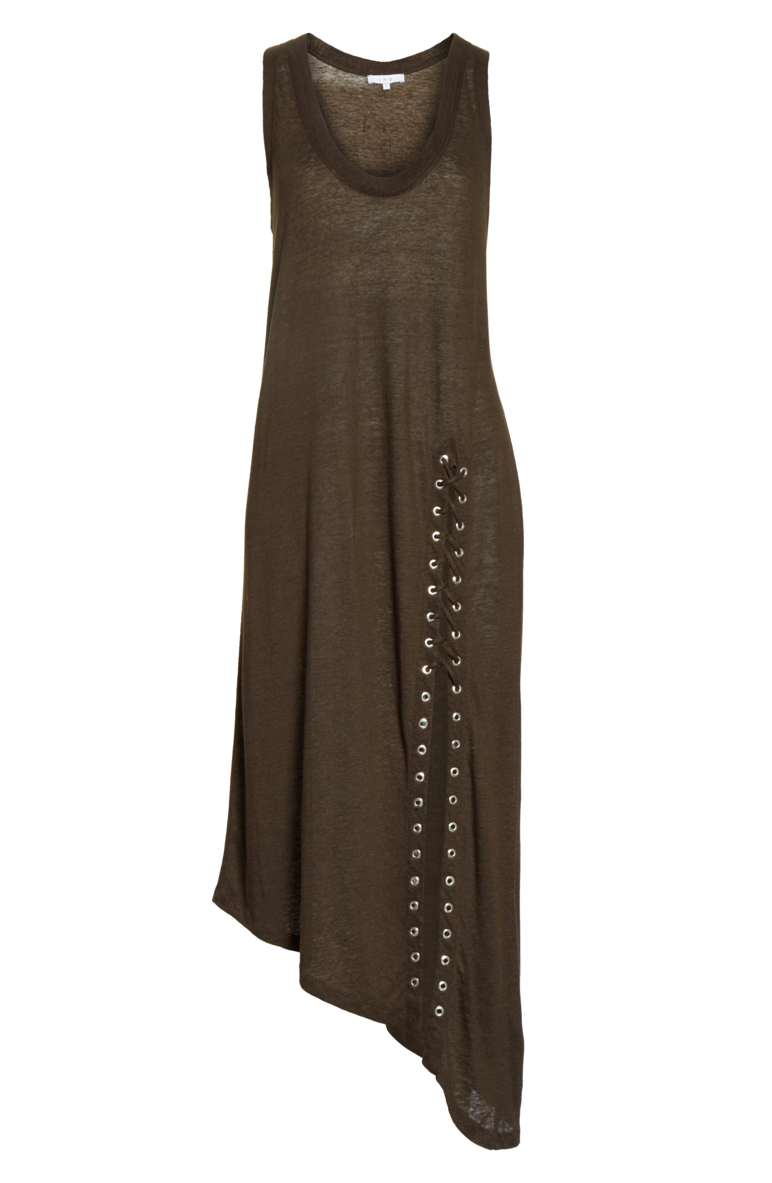 Karossi Asymmetrical Linen Tank Dress,                             Alternate thumbnail 6, color,                             029