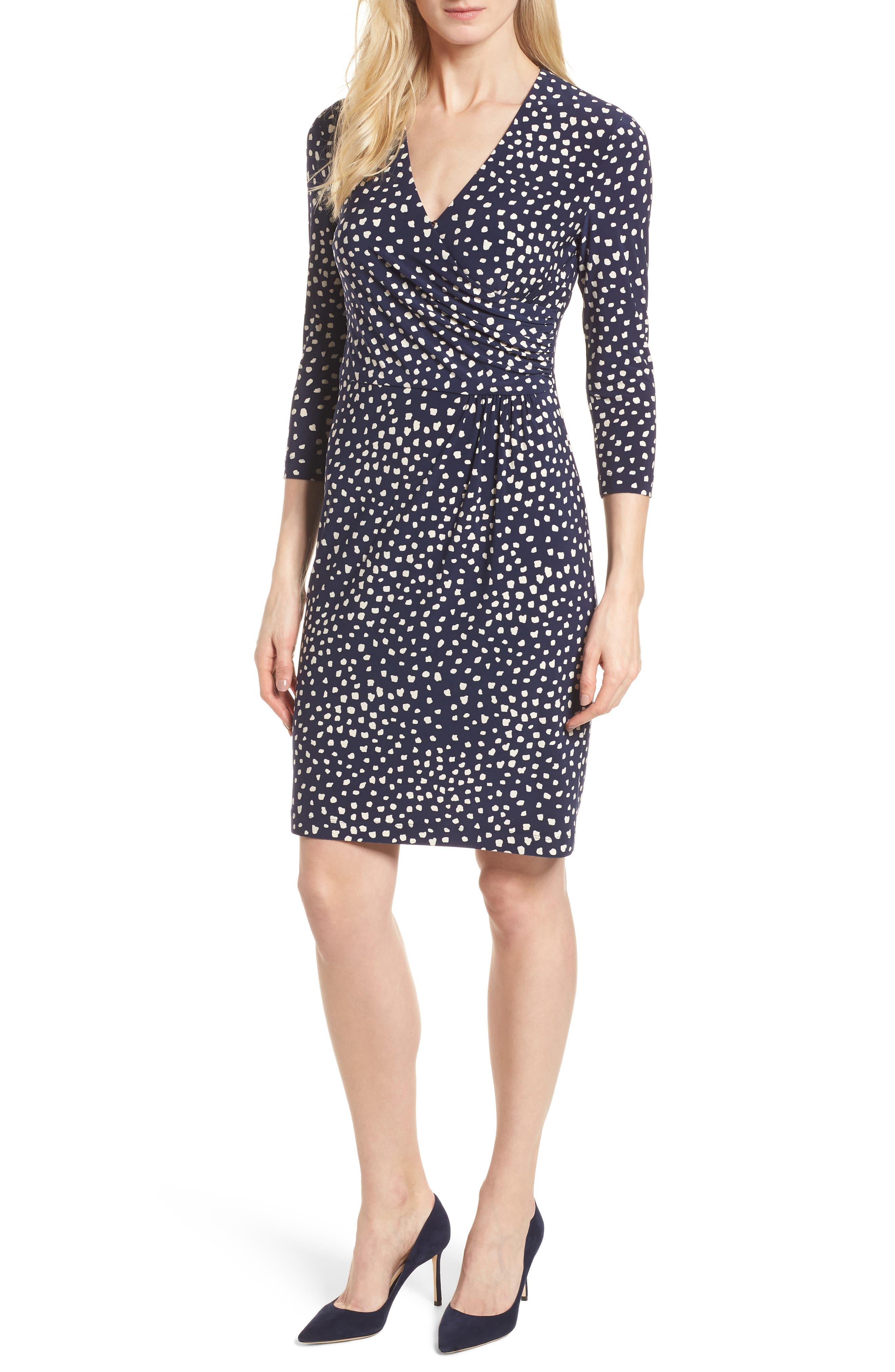 Ceylon Wrap Front Print Dress,                         Main,                         color,