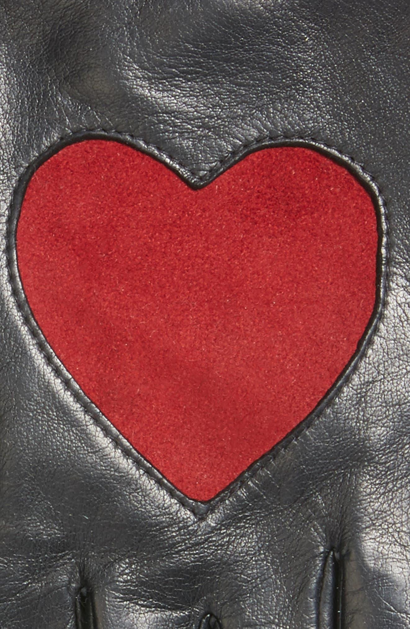 Heart Leather Gloves,                             Alternate thumbnail 2, color,