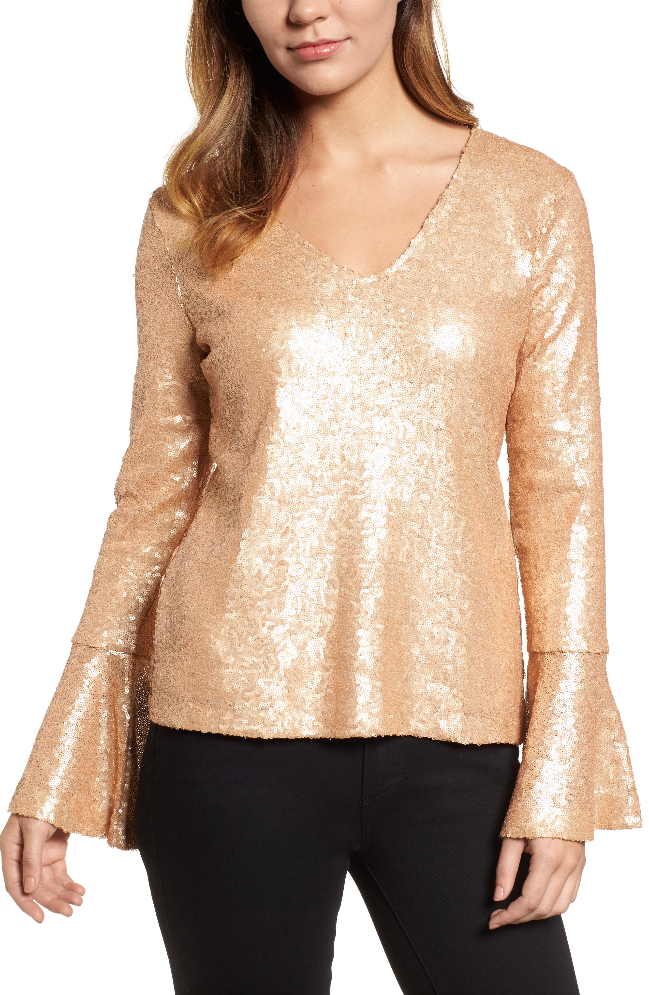 Flare Sleeve Sequin Top,                             Main thumbnail 2, color,