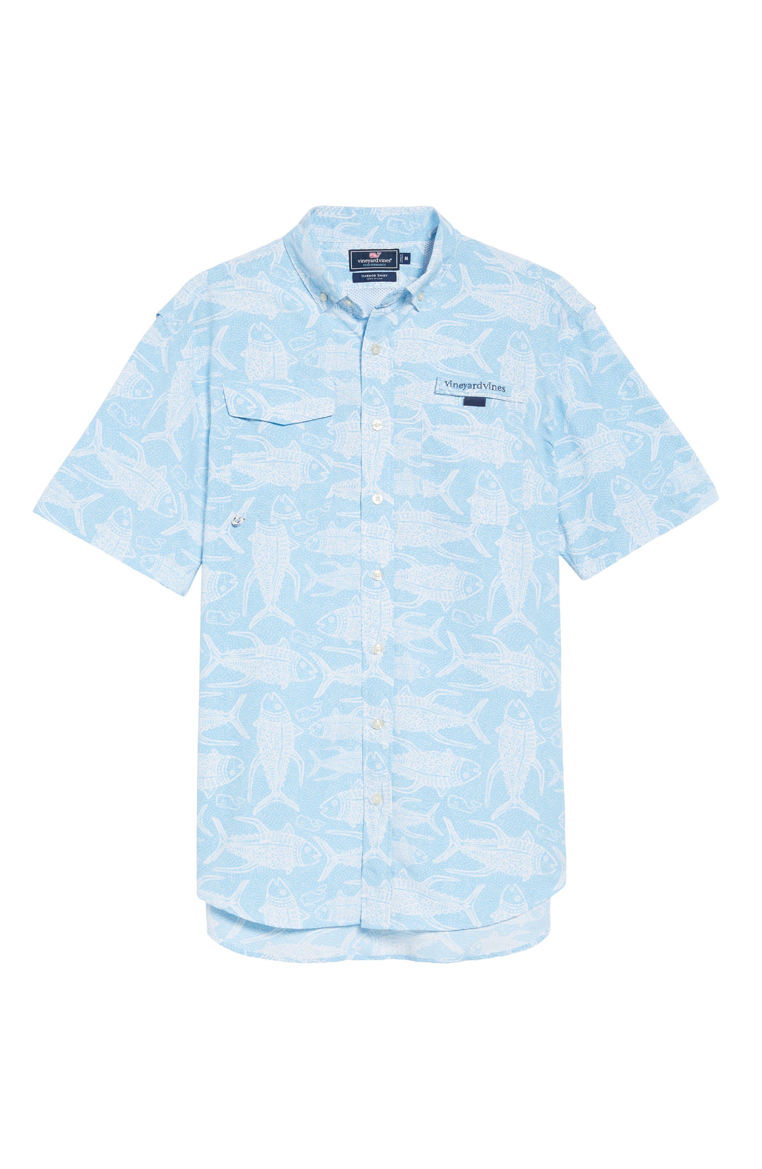 VINEYARD VINES,                             Tuna Batic Harbor Short Sleeve Sport Shirt,                             Alternate thumbnail 6, color,                             456
