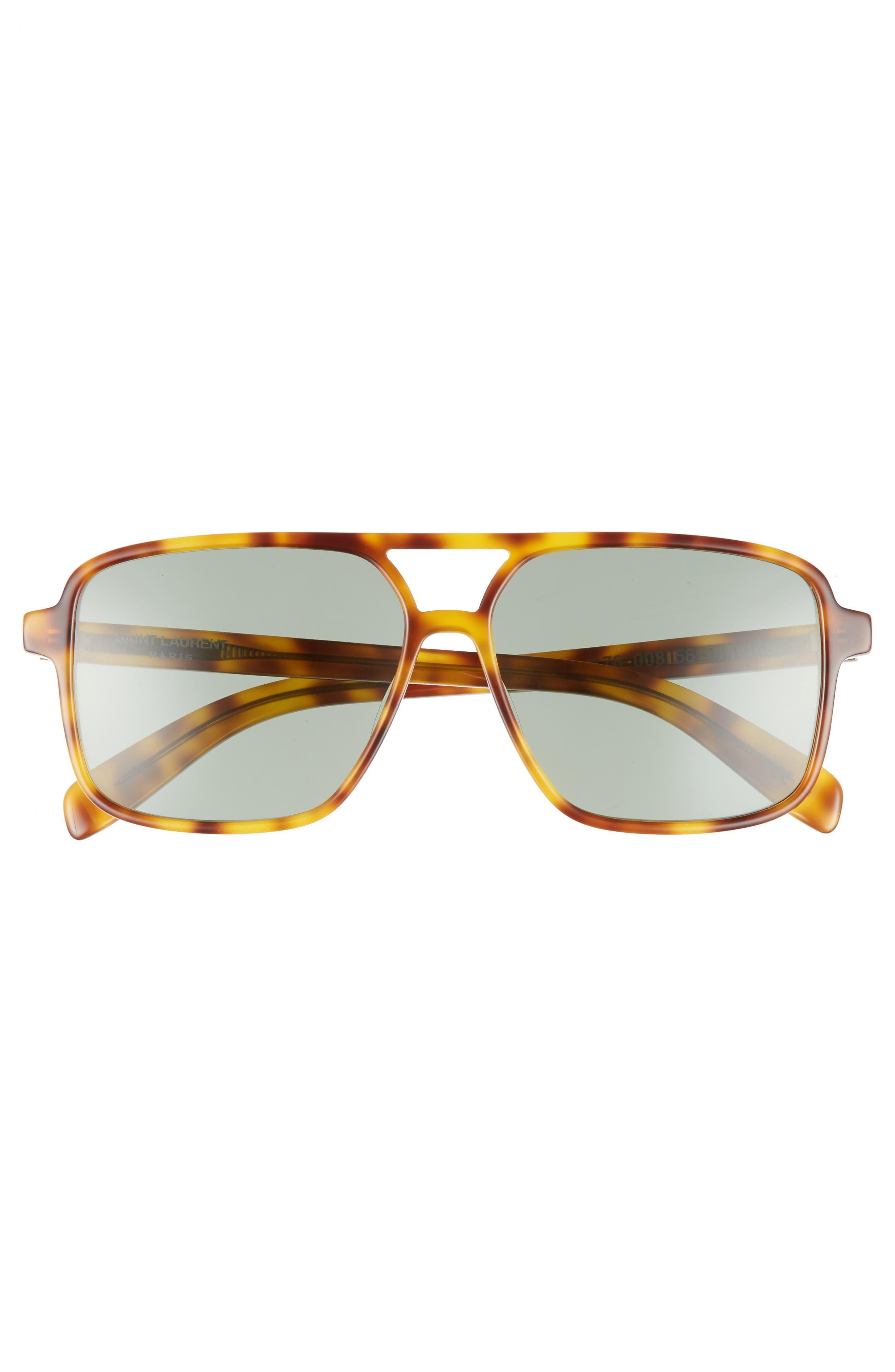 58mm Square Navigator Sunglasses,                             Alternate thumbnail 3, color,                             HAVANA/ HAVANA/ GREEN