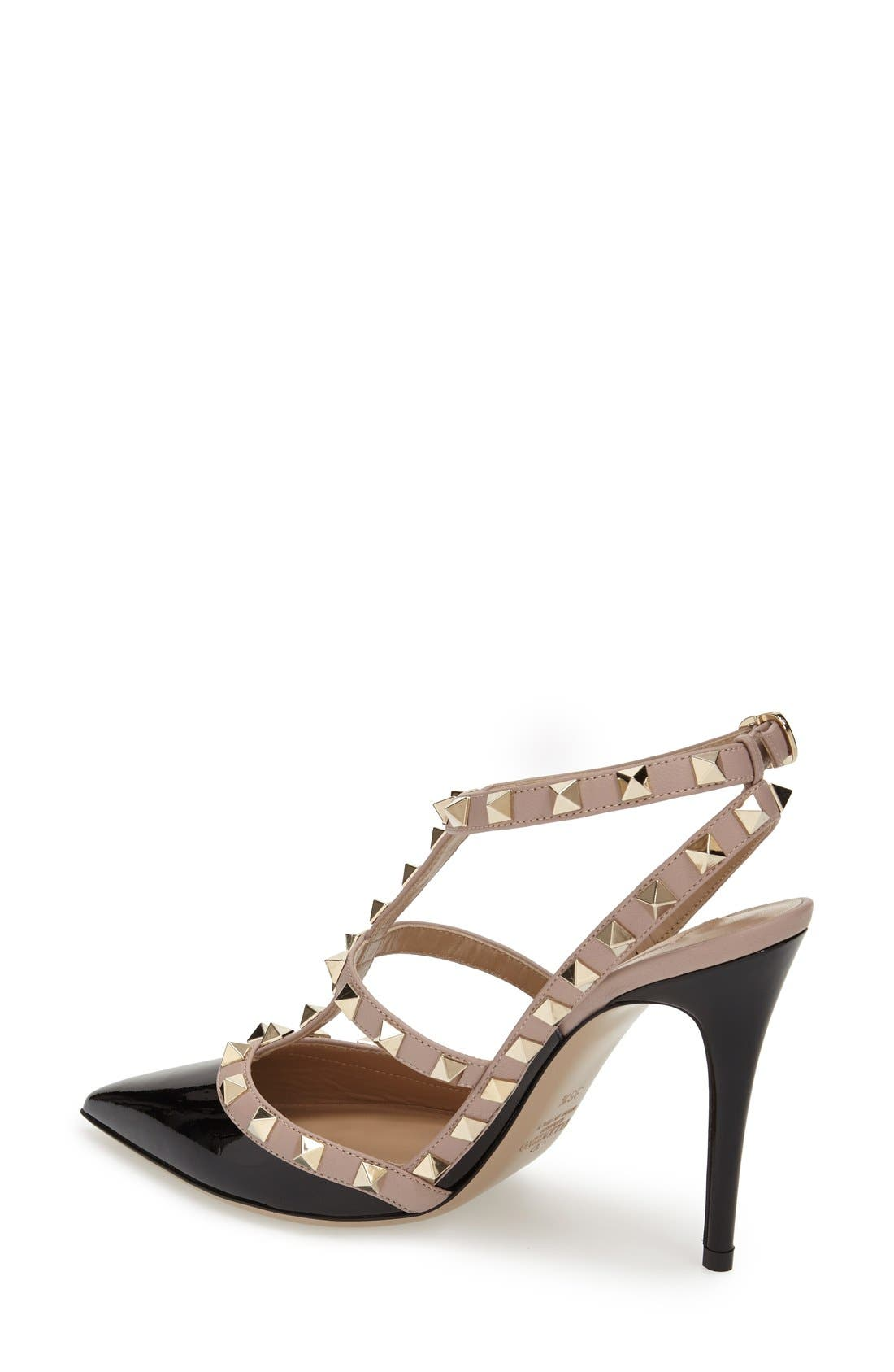 Rockstud T-Strap Pump,                             Alternate thumbnail 3, color,                             BLACK/ BLUSH PATENT