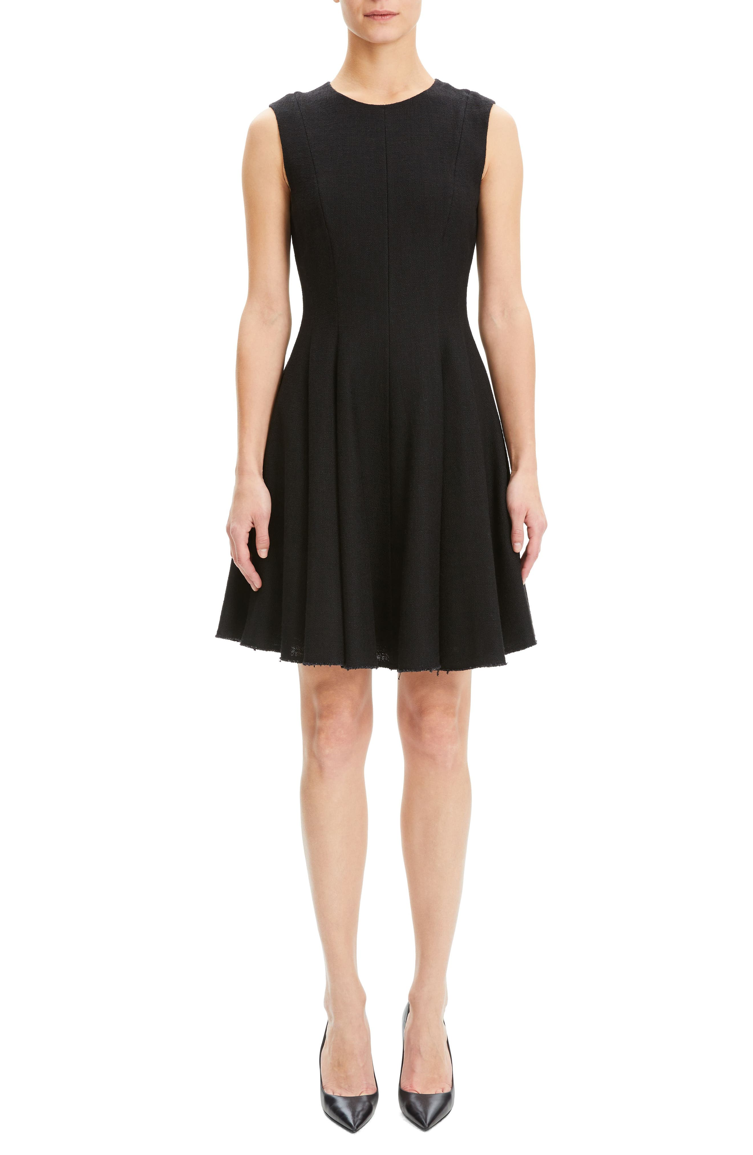 Theory Canvas Fit & Flare Dress, Black