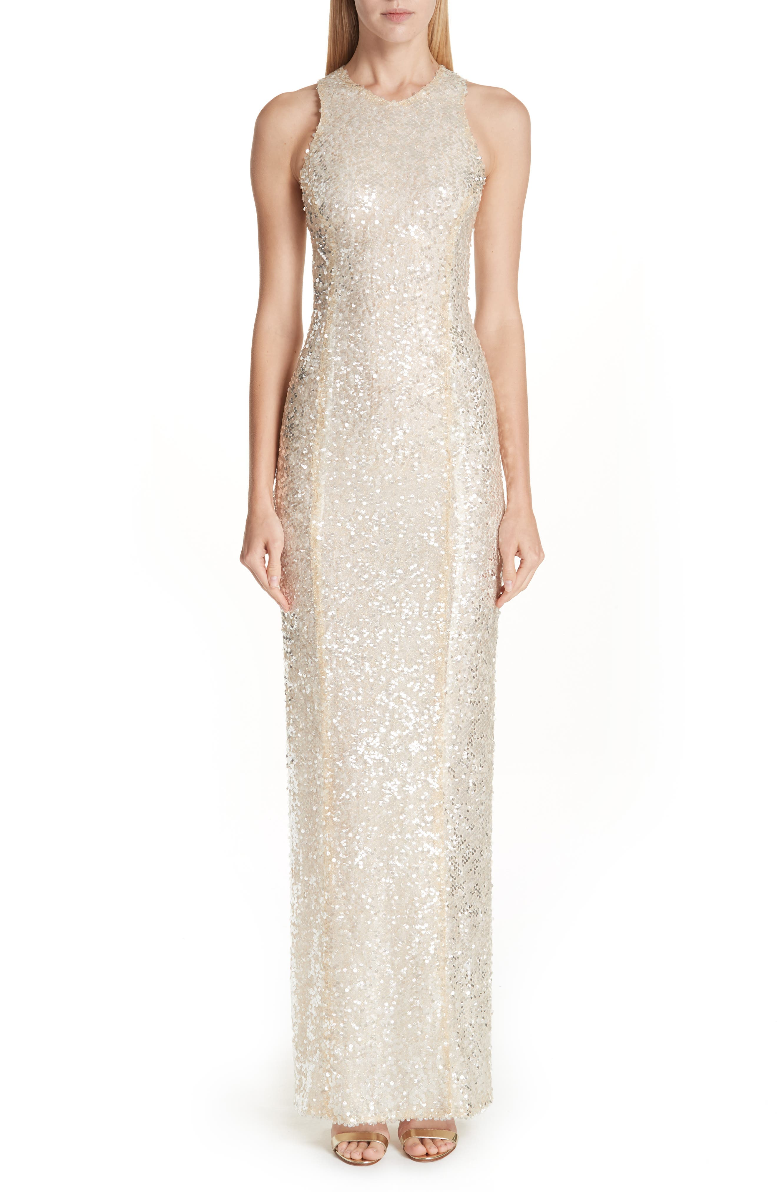 Sequin Racerback Gown,                             Main thumbnail 1, color,                             GOLD