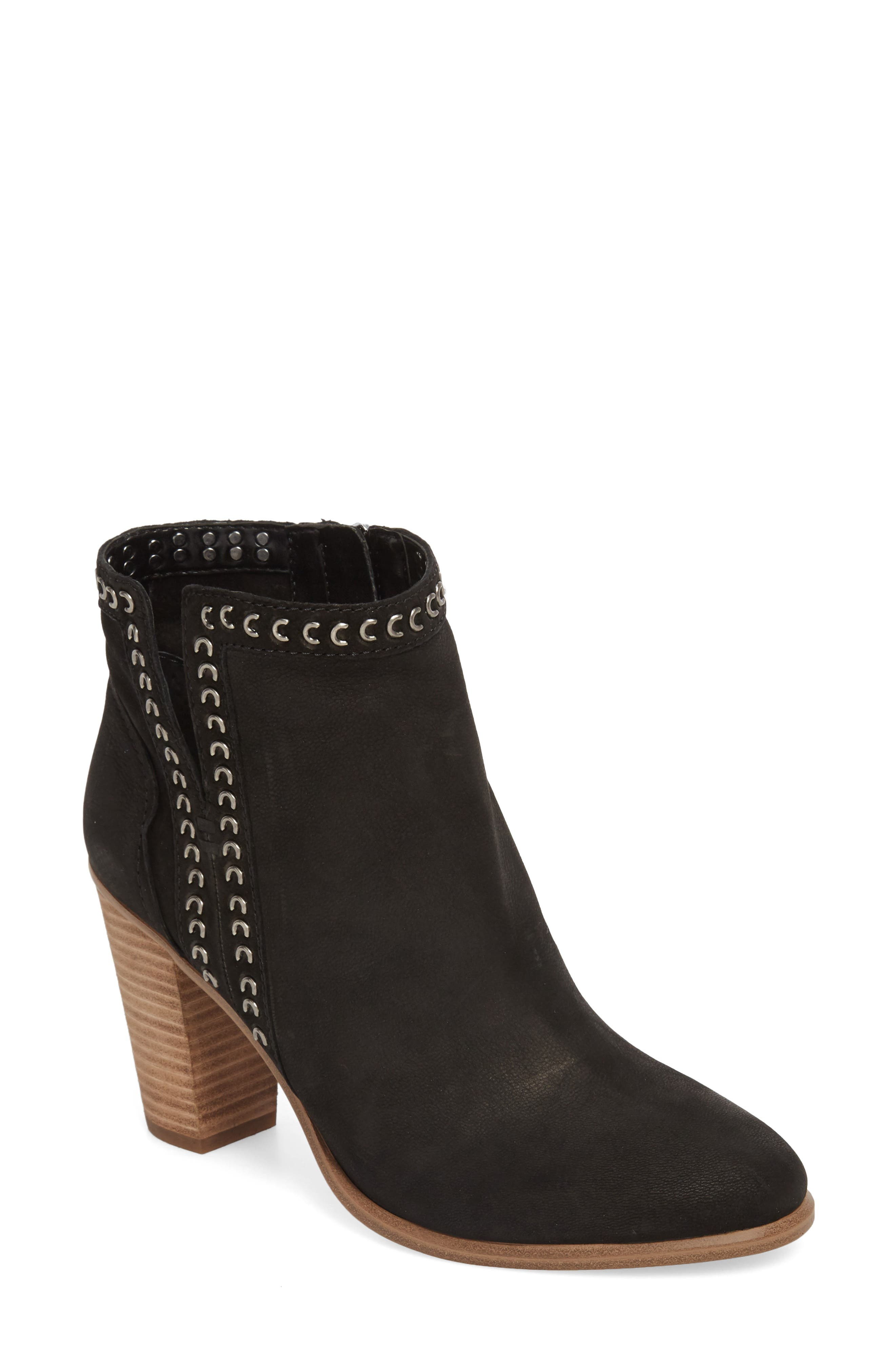 Finchie Bootie,                         Main,                         color, BLACK LEATHER
