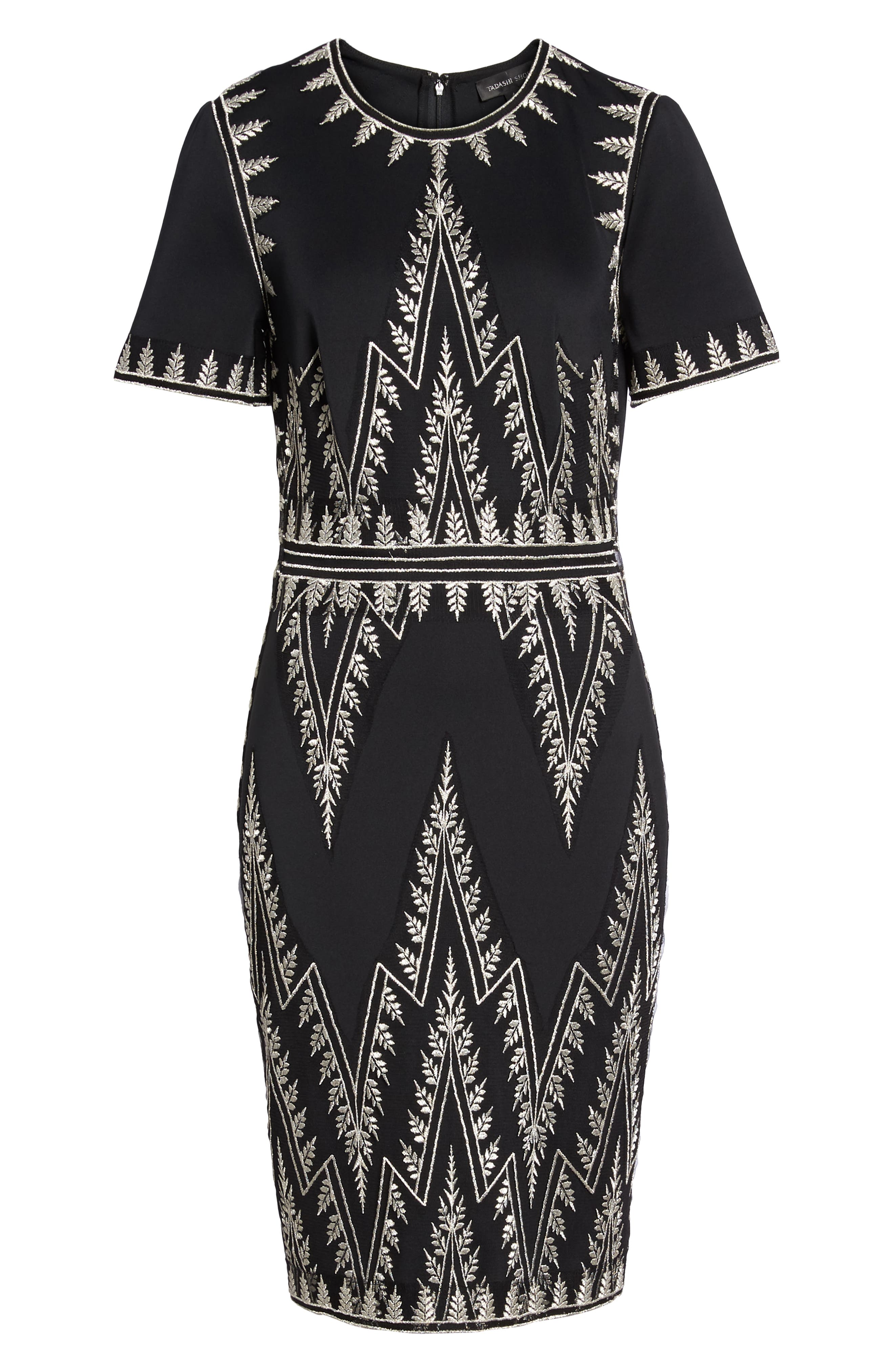 Embroidered Chevron Dress,                             Alternate thumbnail 6, color,                             BLACK/ SILVER