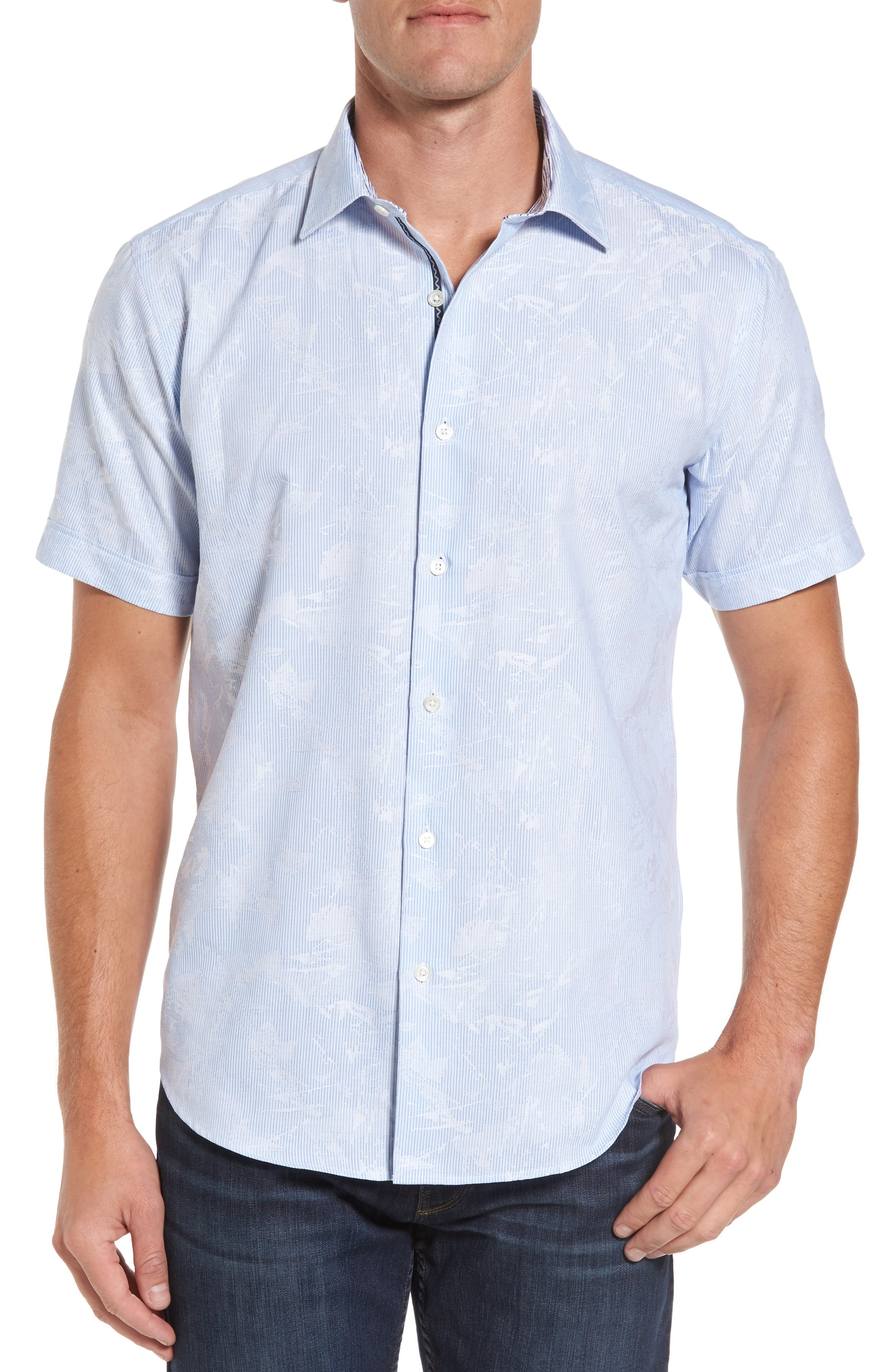 Shaped Fit Jacquard Stripe Sport Shirt,                         Main,                         color, 459