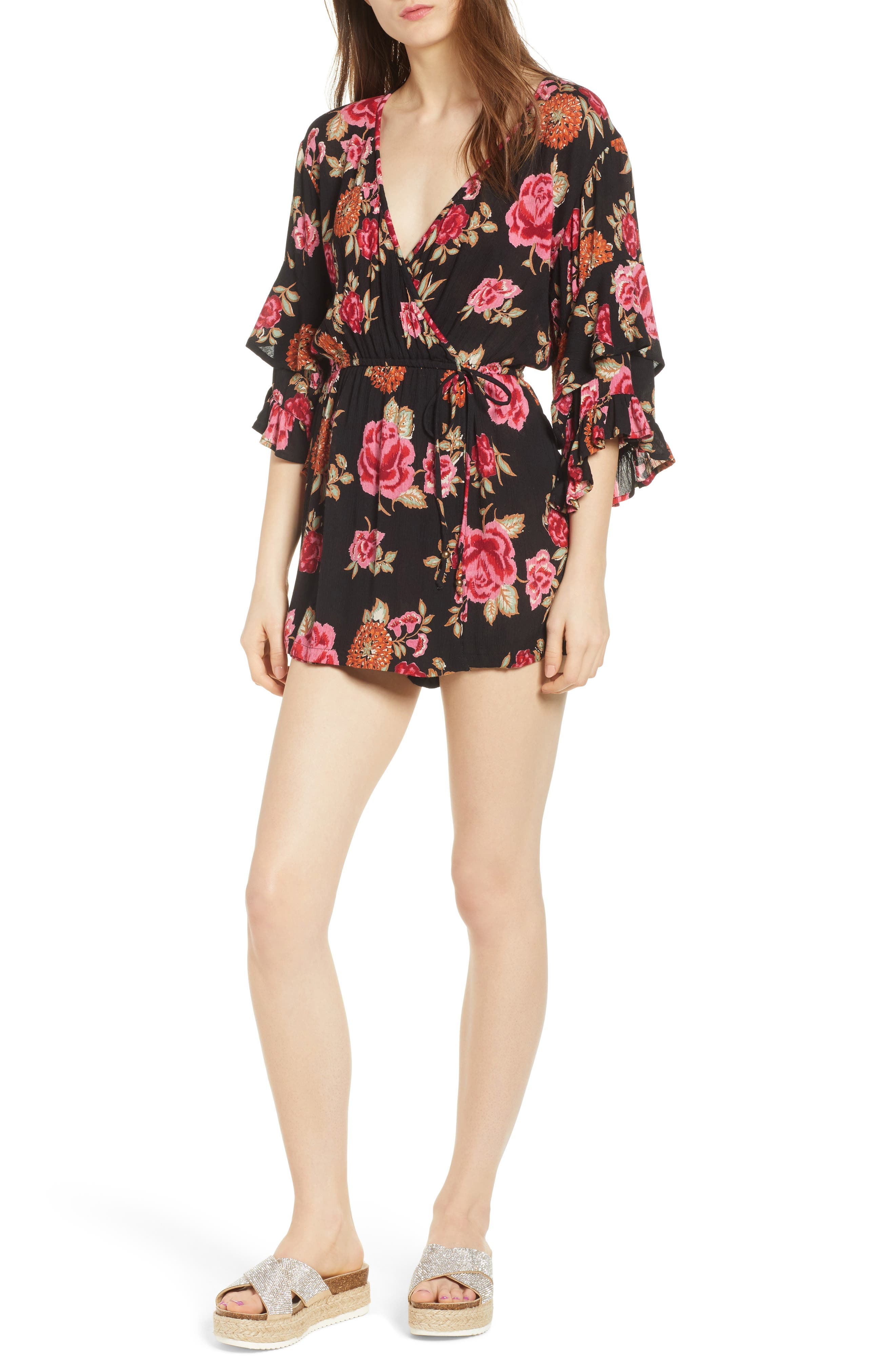 Print Ruffle Surplice Romper,                         Main,                         color,