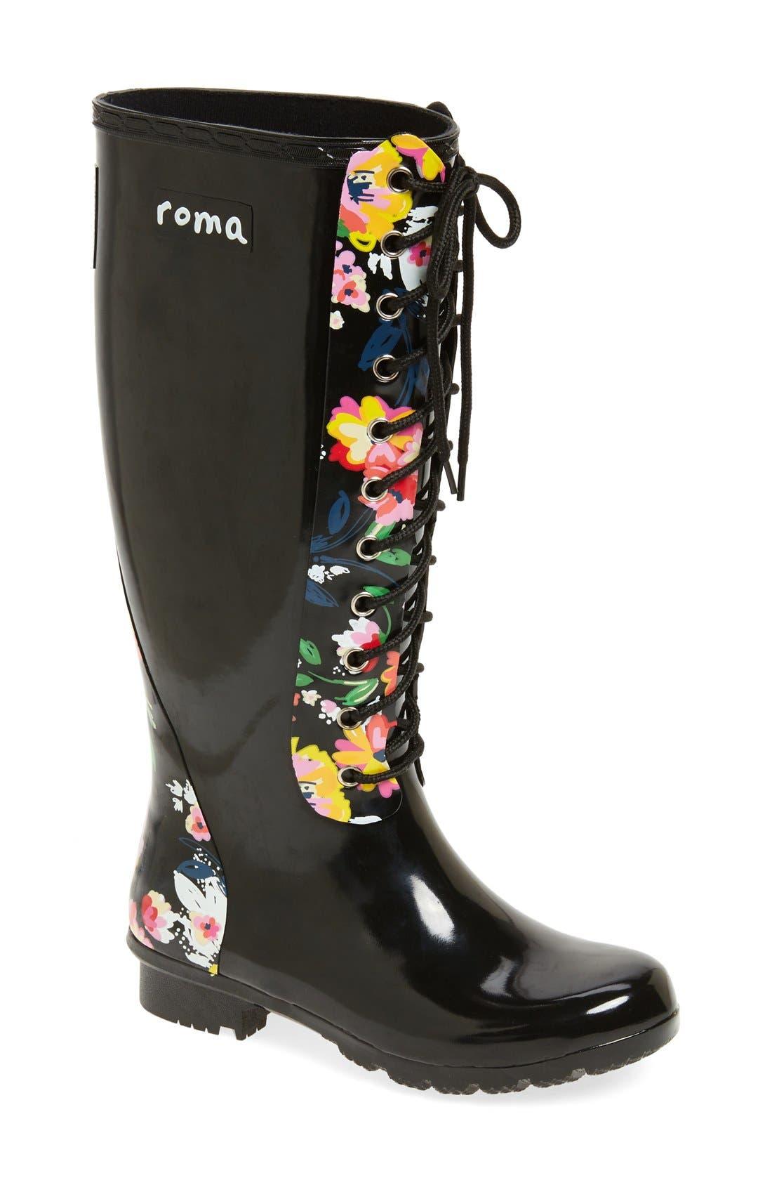 'Opinca' Waterproof Rain Boot,                             Main thumbnail 1, color,                             003