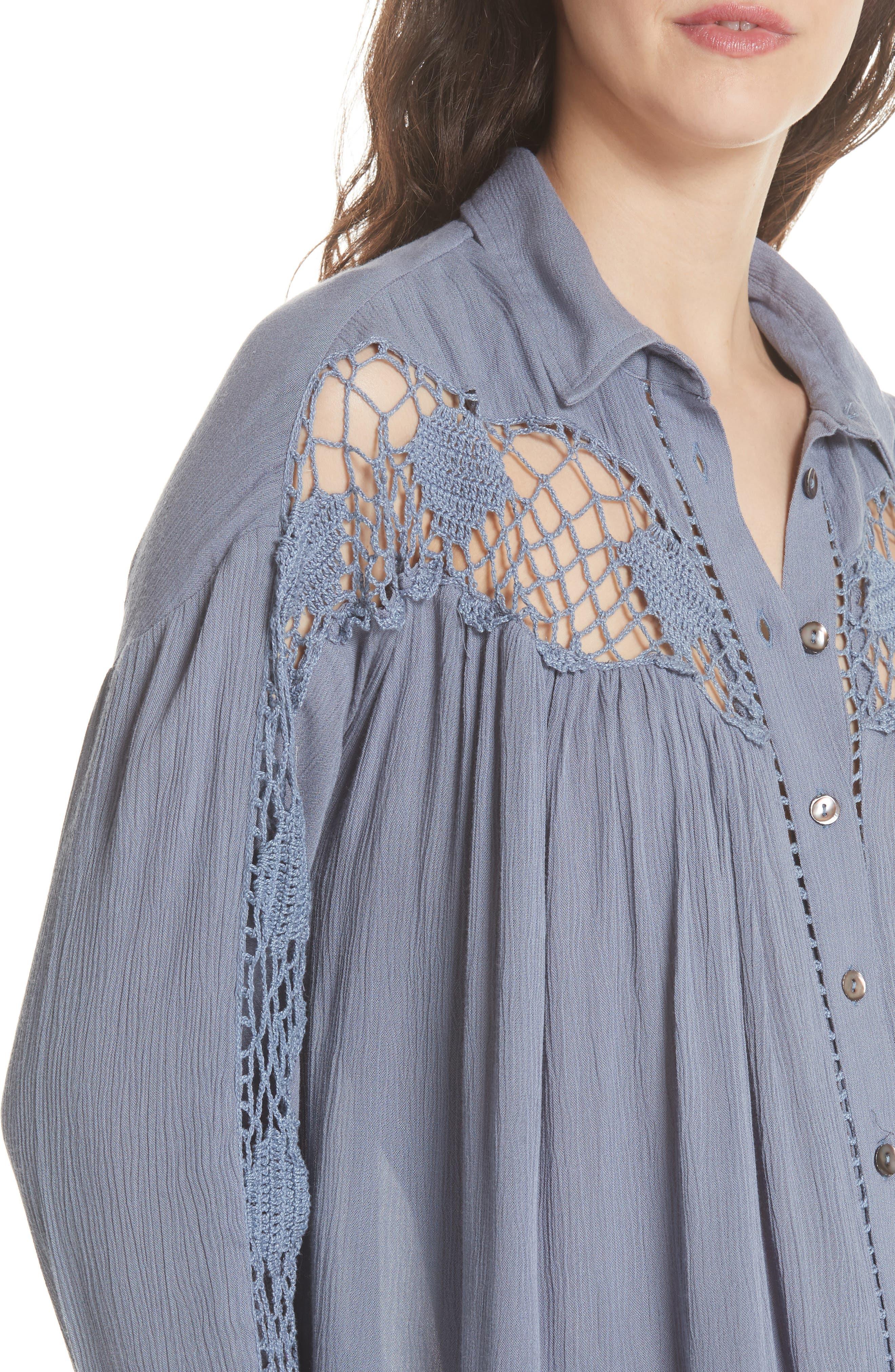 Katie Bird Crochet Inset Shirt,                             Alternate thumbnail 15, color,